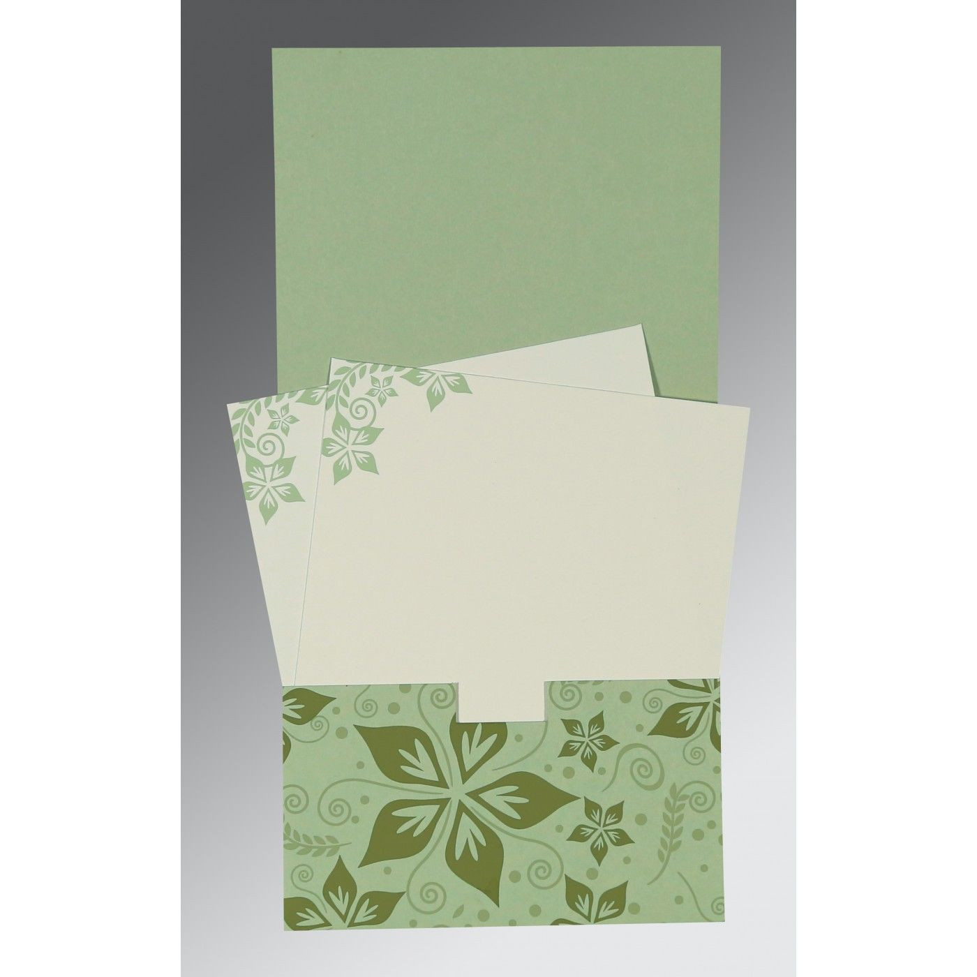 SAGE GREEN MATTE FLORAL THEMED - SCREEN PRINTED WEDDING INVITATION : CS-8240I - IndianWeddingCards