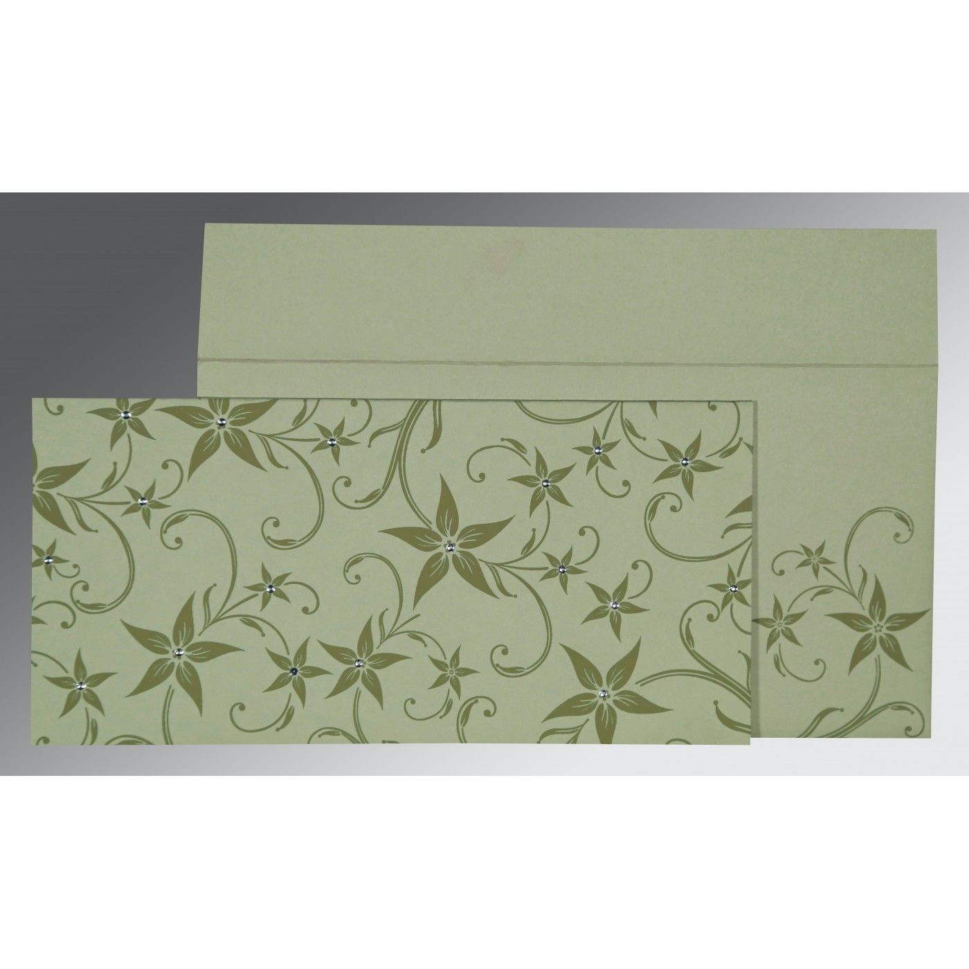 SAGE GREEN MATTE FLORAL THEMED - SCREEN PRINTED WEDDING INVITATION : CSO-8225E - IndianWeddingCards