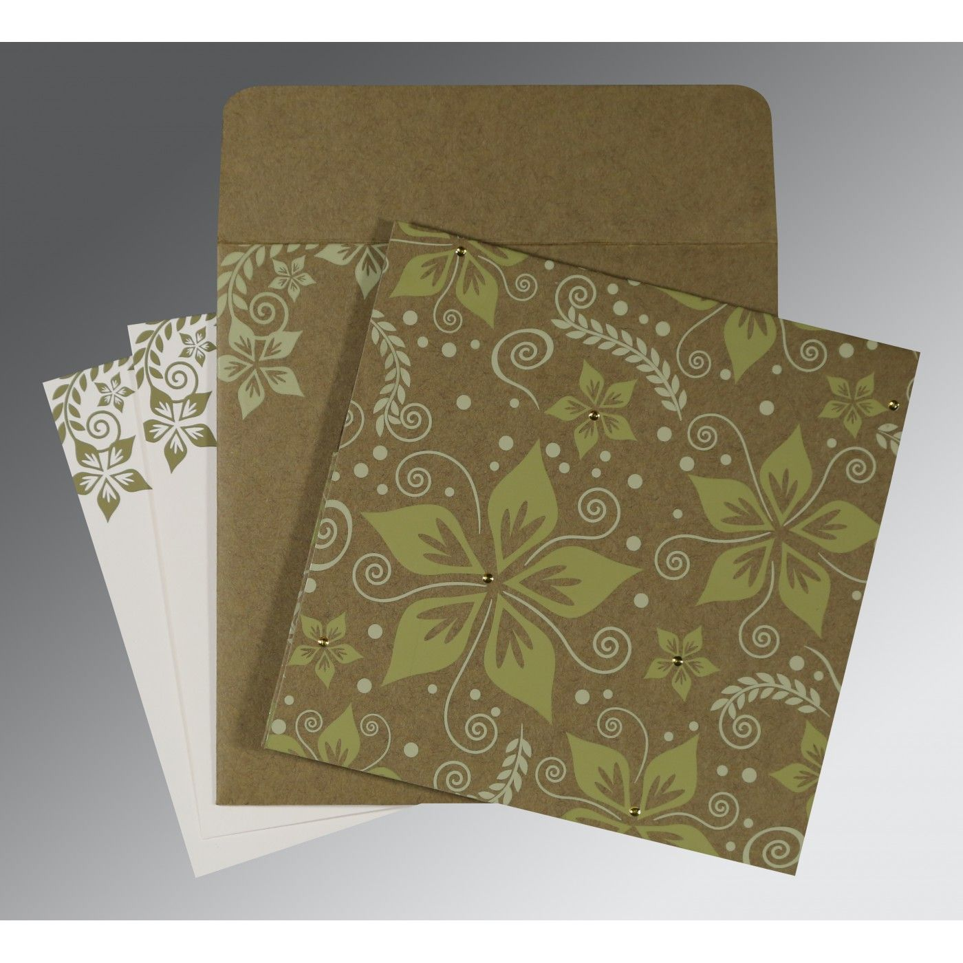 OLIVE GREEN MATTE FLORAL THEMED - SCREEN PRINTED WEDDING INVITATION : SO-8240F - 123WeddingCards