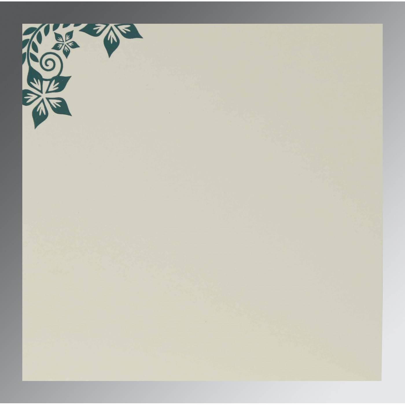 MIDNIGHT GREEN MATTE FLORAL THEMED - SCREEN PRINTED WEDDING INVITATION : CSO-8240N - IndianWeddingCards