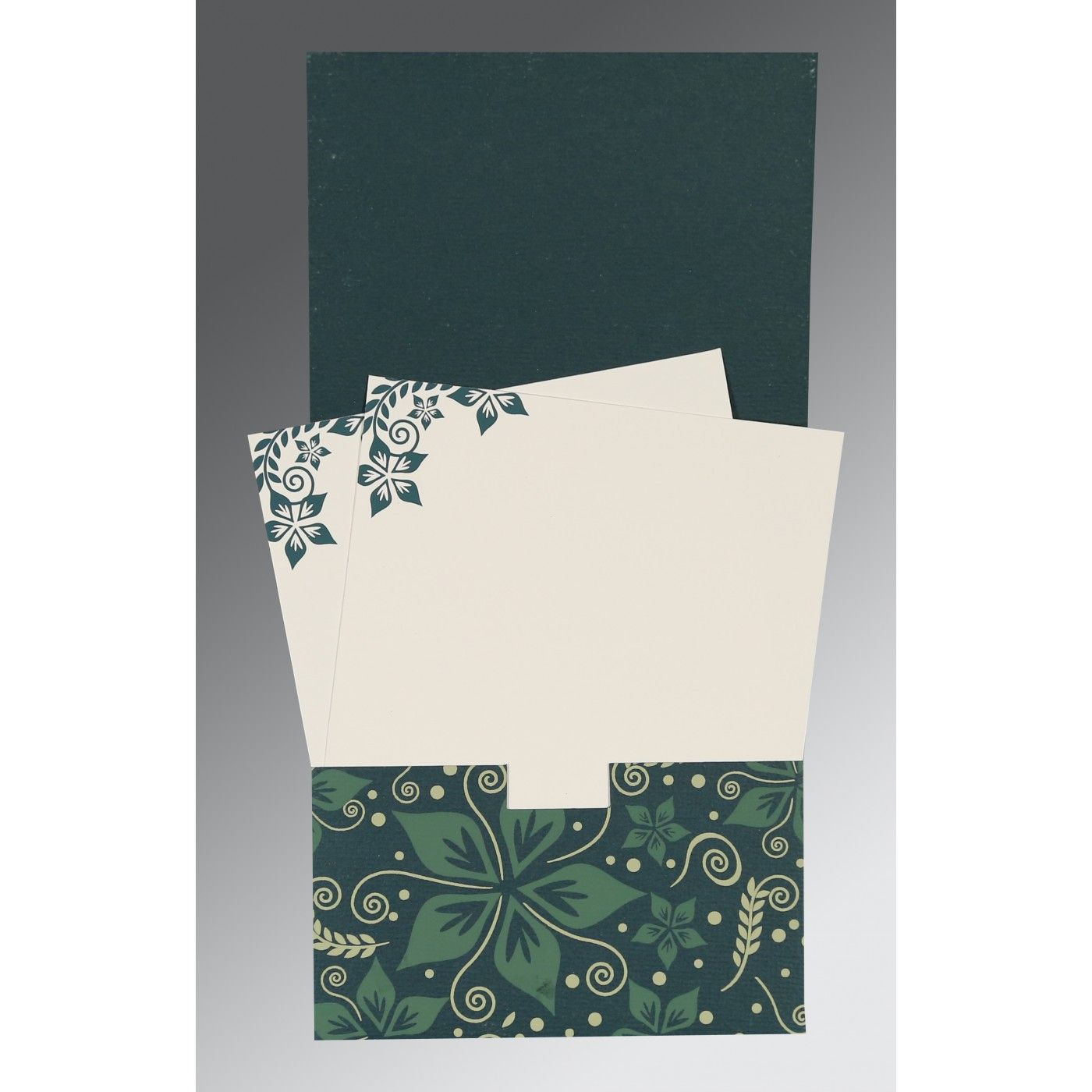 MIDNIGHT GREEN MATTE FLORAL THEMED - SCREEN PRINTED WEDDING INVITATION : CSO-8240N - IndianWeddingCards