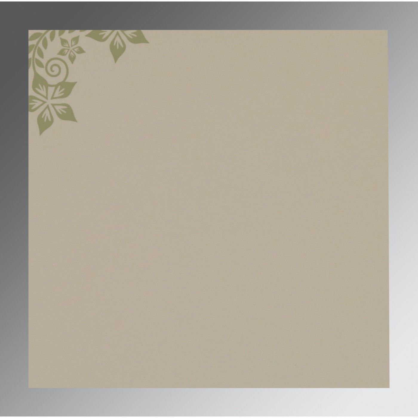 SAGE GREEN MATTE FLORAL THEMED - SCREEN PRINTED WEDDING INVITATION : CW-8240I - IndianWeddingCards