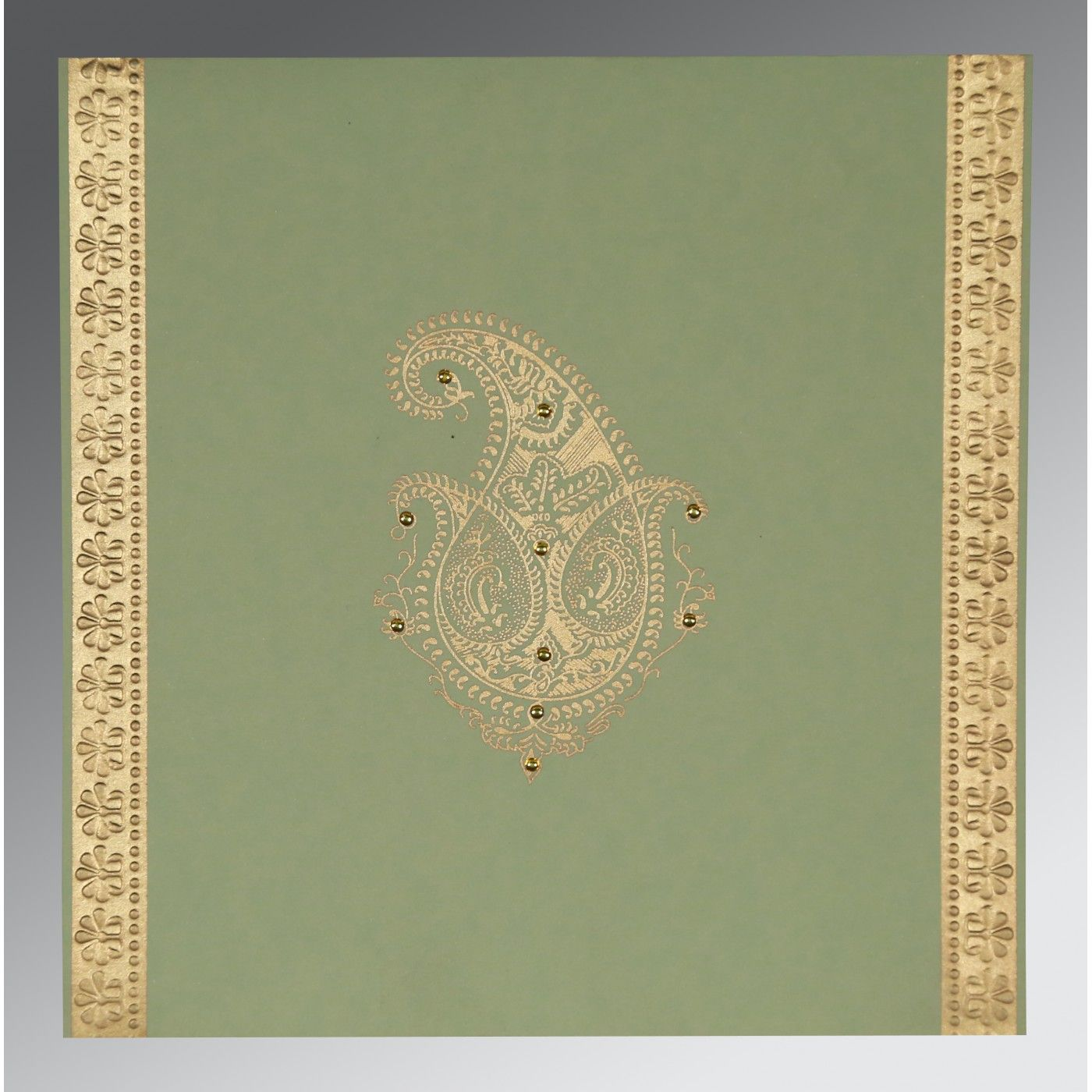 SAGE GREEN MATTE PAISLEY THEMED - EMBOSSED WEDDING INVITATION : CSO-8231G - IndianWeddingCards