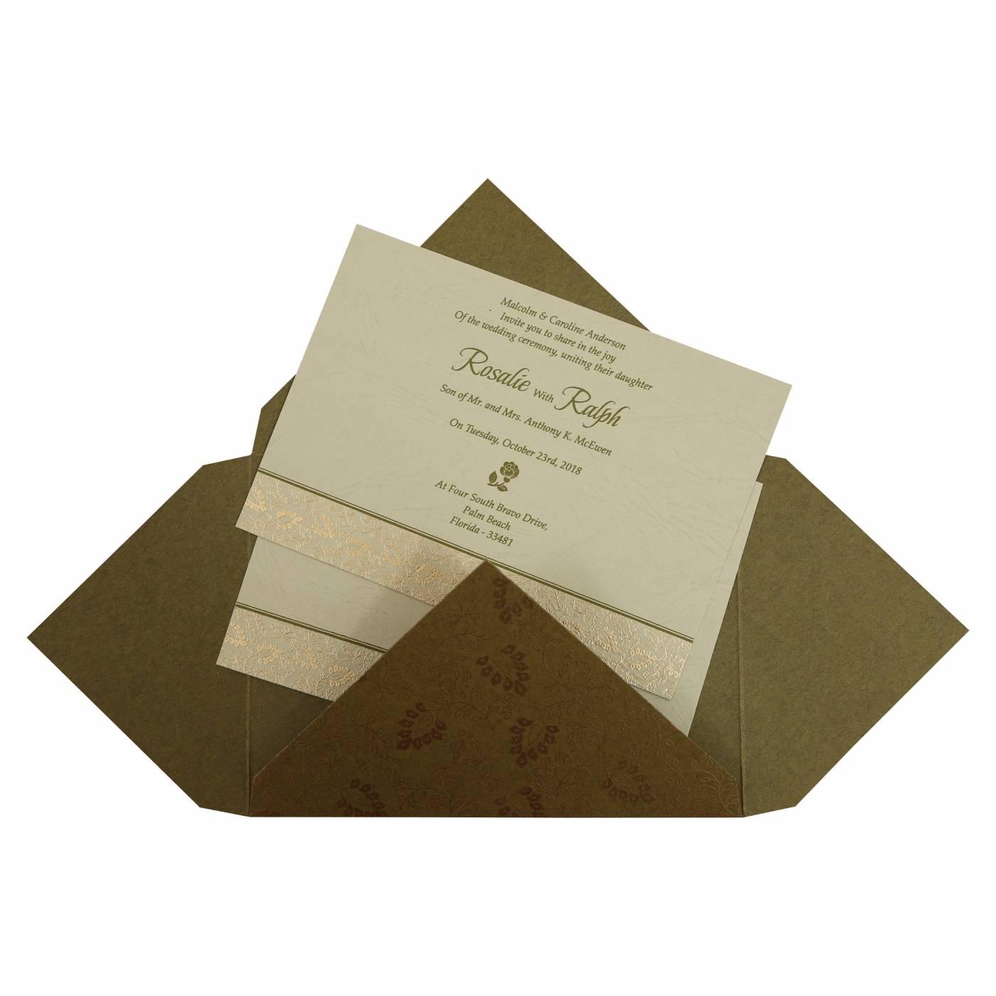 GREEN MATTE PAISLEY THEMED - SCREEN PRINTED WEDDING INVITATION : C-G-811C - IndianWeddingCards