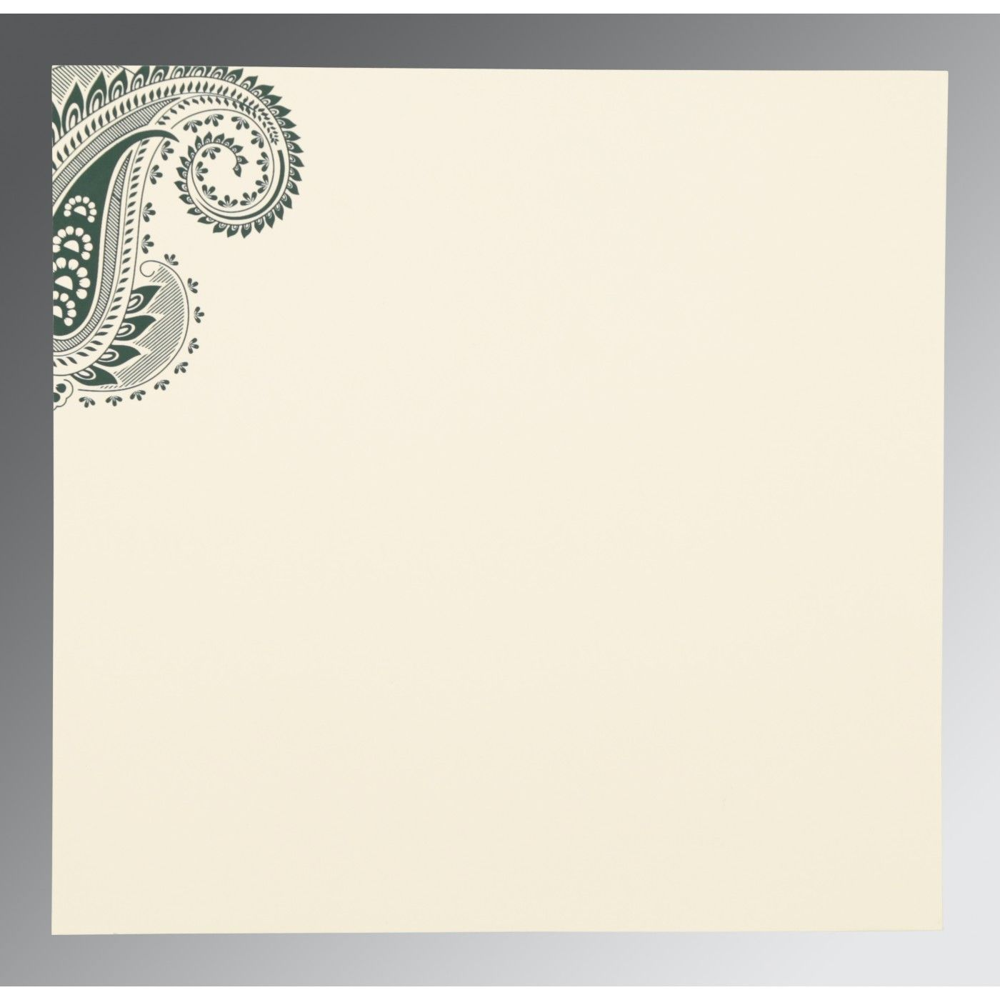 SEA GREEN MATTE PAISLEY THEMED - SCREEN PRINTED WEDDING CARD : CRU-8250C - IndianWeddingCards