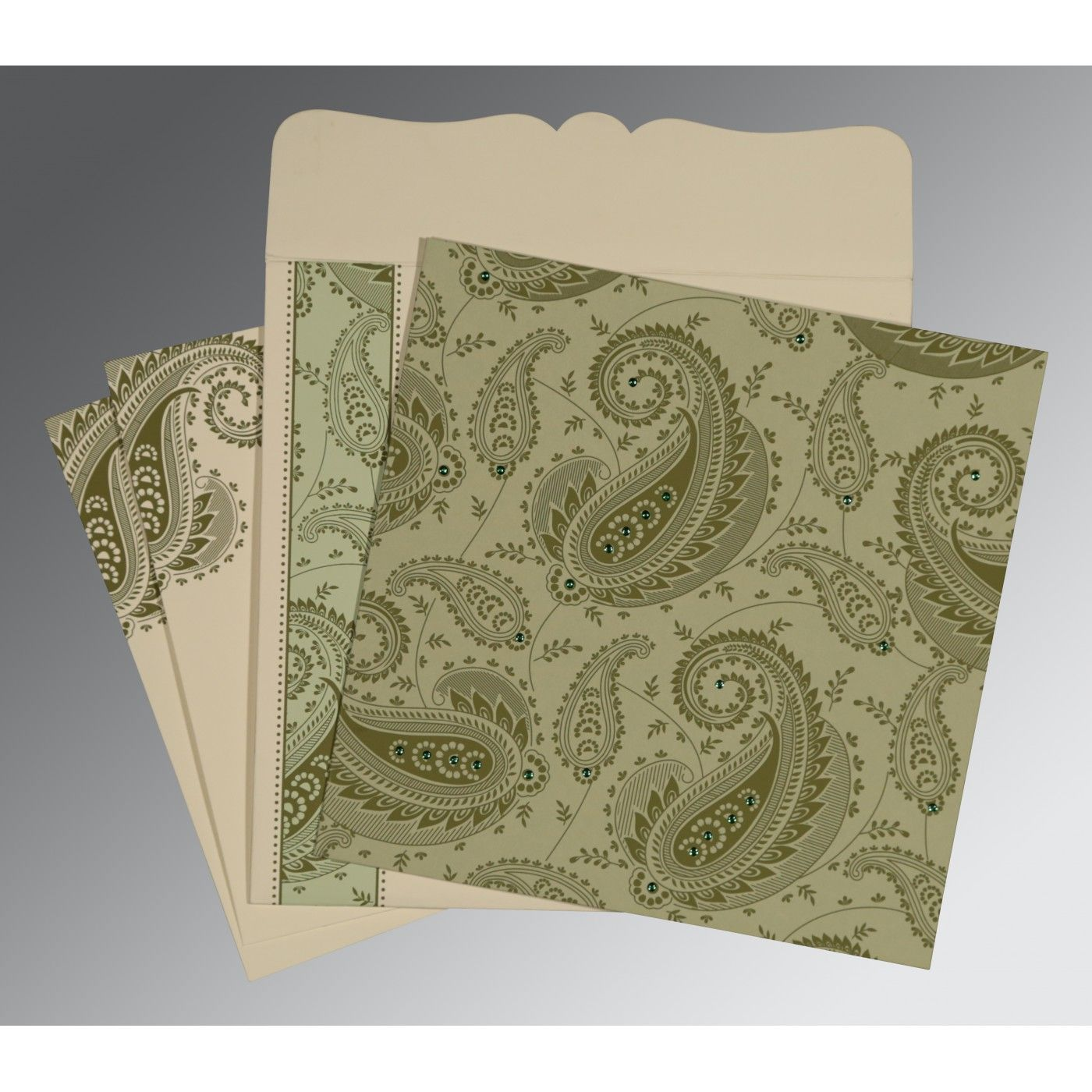 SAGE GREEN MATTE PAISLEY THEMED - SCREEN PRINTED WEDDING CARD : CRU-8250G - IndianWeddingCards