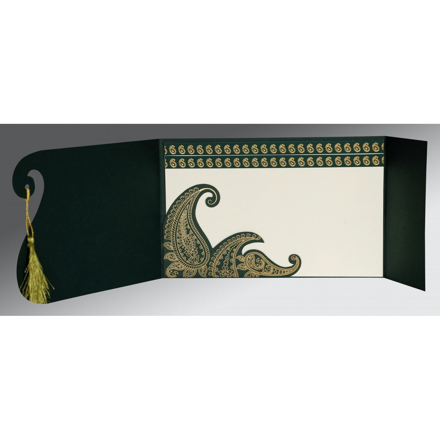 DARK GREEN MATTE PAISLEY THEMED - SCREEN PRINTED WEDDING INVITATION : CS-8252E - IndianWeddingCards