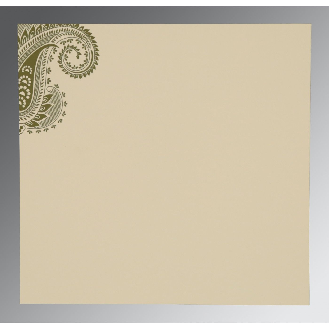 SAGE GREEN MATTE PAISLEY THEMED - SCREEN PRINTED WEDDING CARD : CSO-8250G - IndianWeddingCards