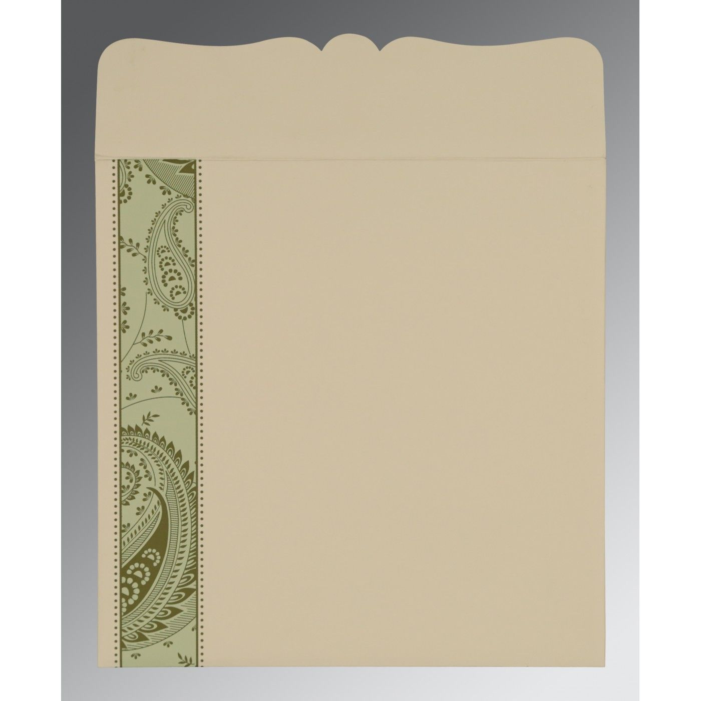 SAGE GREEN MATTE PAISLEY THEMED - SCREEN PRINTED WEDDING CARD : CW-8250G - IndianWeddingCards