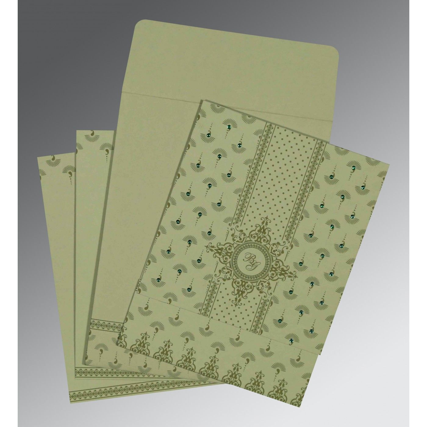SAGE GREEN MATTE SCREEN PRINTED WEDDING INVITATION : CIN-8247L - IndianWeddingCards