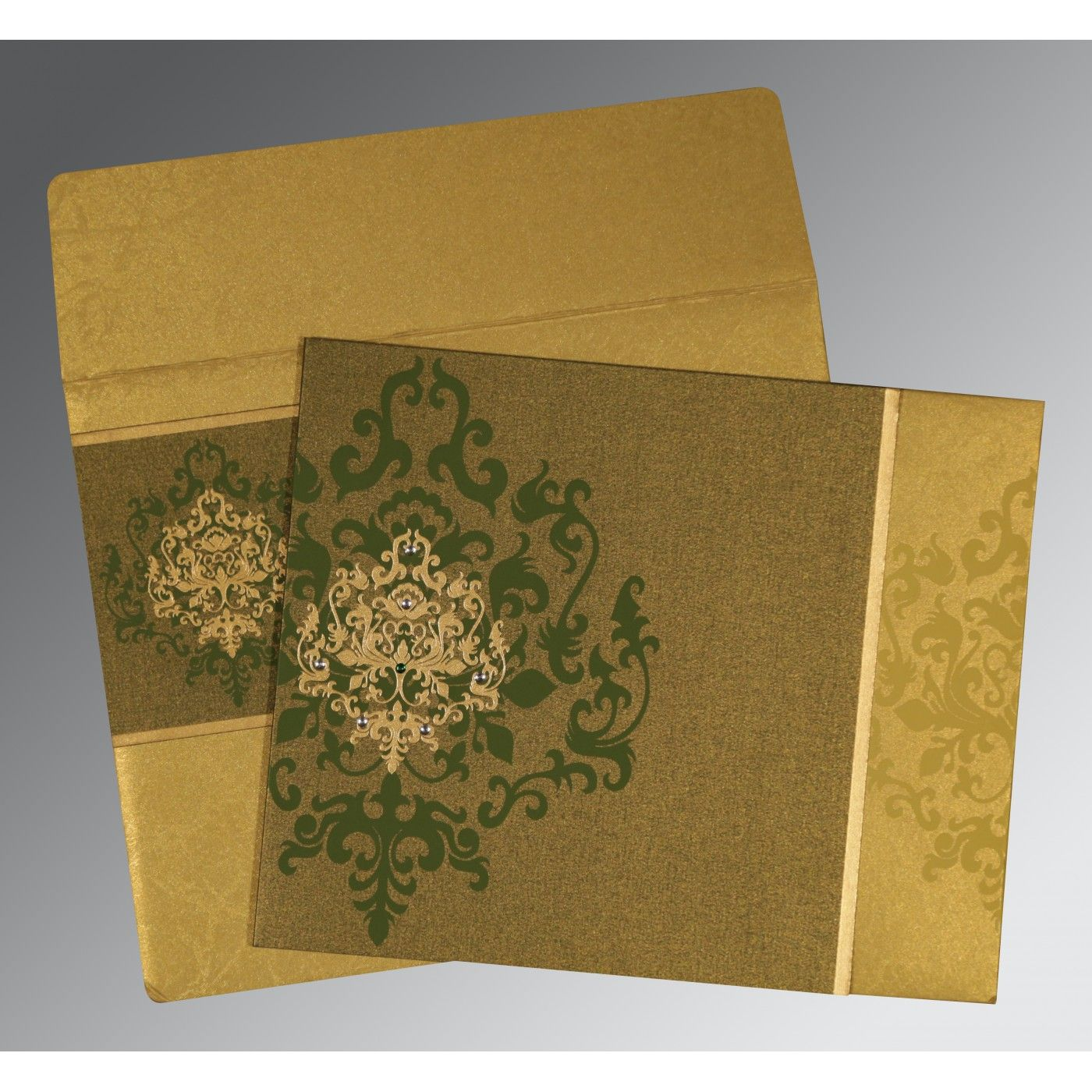 GREEN SHIMMERY DAMASK THEMED - SCREEN PRINTED WEDDING CARD : CD-8253C - IndianWeddingCards
