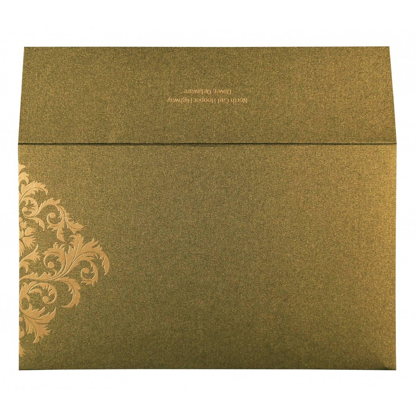 DEEP SAGE SHIMMERY DAMASK THEMED - SCREEN PRINTED WEDDING CARD : CD-8257A - IndianWeddingCards