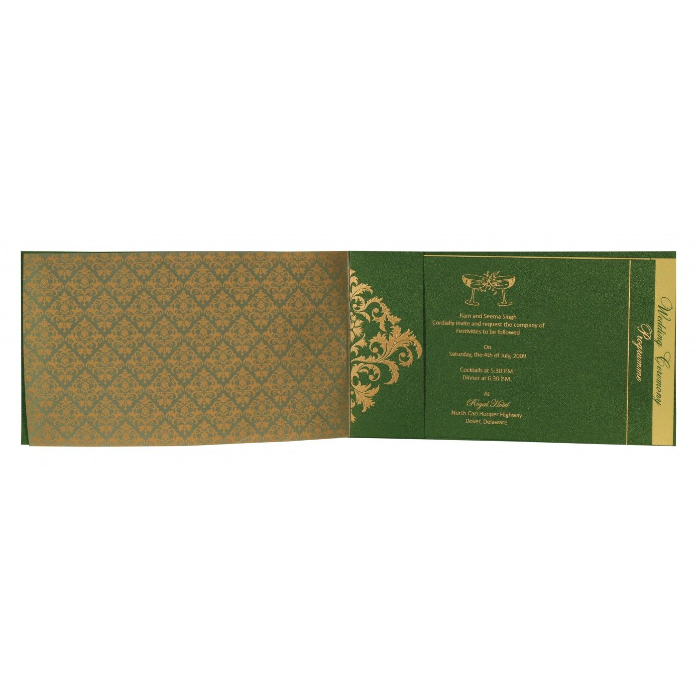 DARK GREEN SHIMMERY DAMASK THEMED - SCREEN PRINTED WEDDING CARD : CG-8257F - IndianWeddingCards