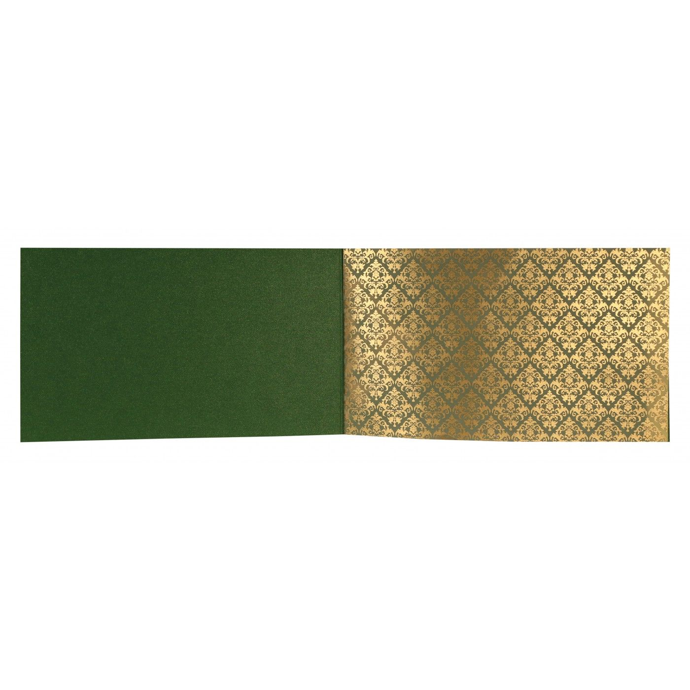DARK GREEN SHIMMERY DAMASK THEMED - SCREEN PRINTED WEDDING CARD : CS-8257F - IndianWeddingCards