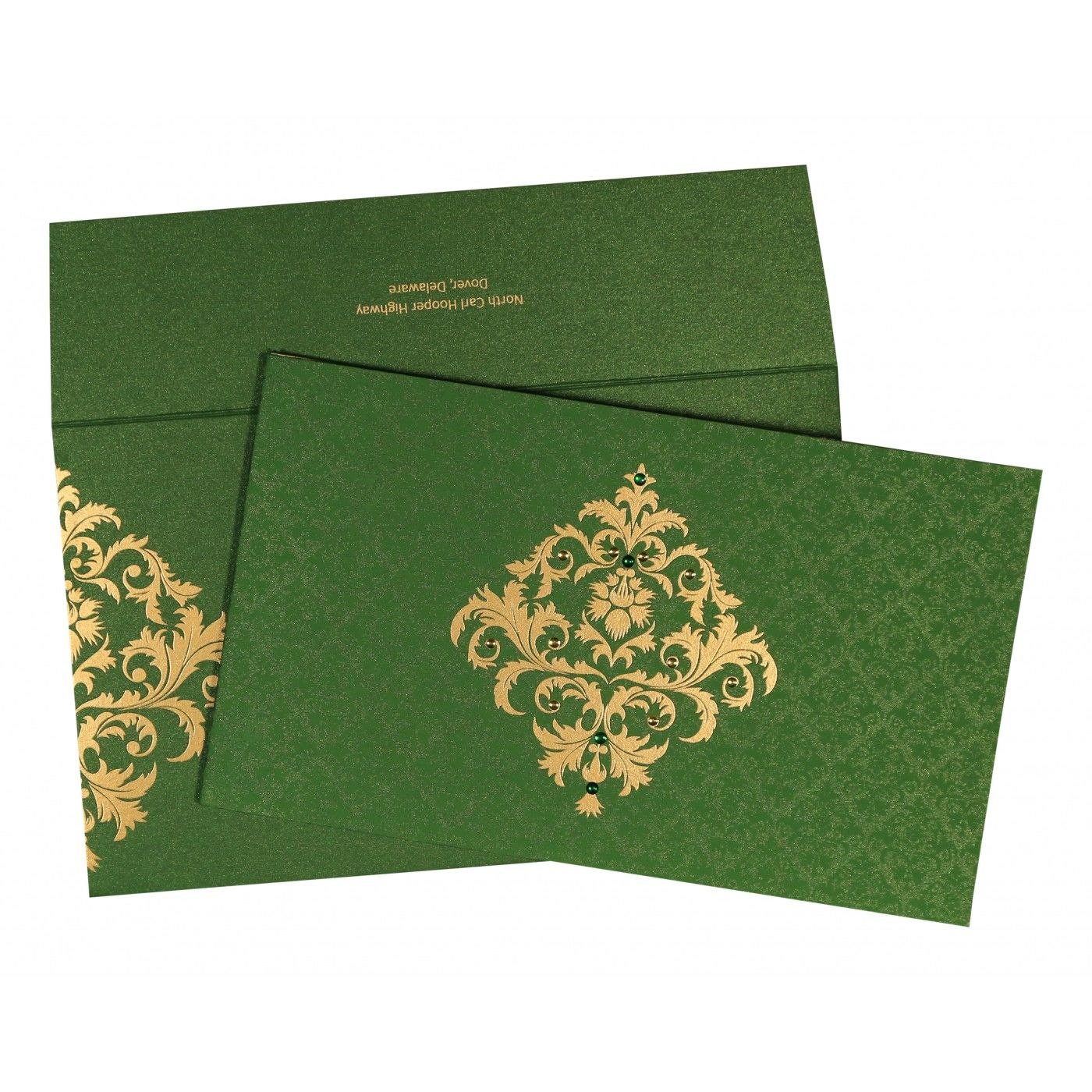 DARK GREEN SHIMMERY DAMASK THEMED - SCREEN PRINTED WEDDING CARD : CW-8257F - IndianWeddingCards