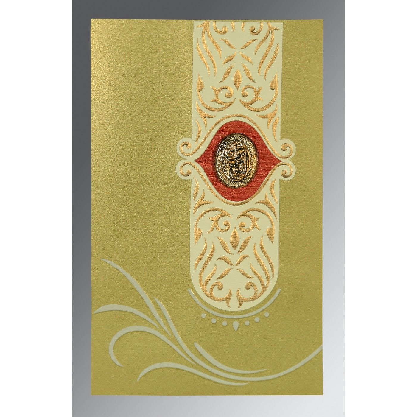 APPLE GREEN MATTE EMBOSSED WEDDING CARD : CI-1317 - IndianWeddingCards