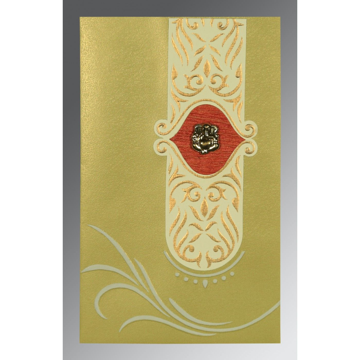 APPLE GREEN MATTE EMBOSSED WEDDING CARD : CIN-1317 - IndianWeddingCards