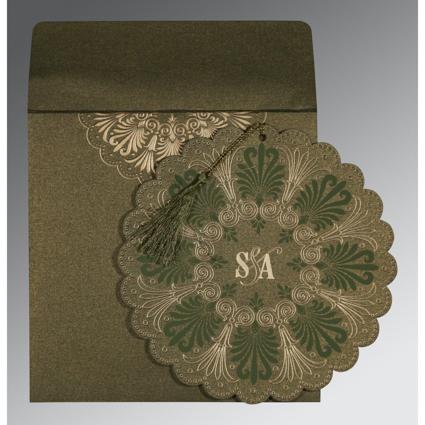 DARK OLIVE GREEN SHIMMERY FLORAL THEMED - EMBOSSED WEDDING CARD : CG-8238K - IndianWeddingCards