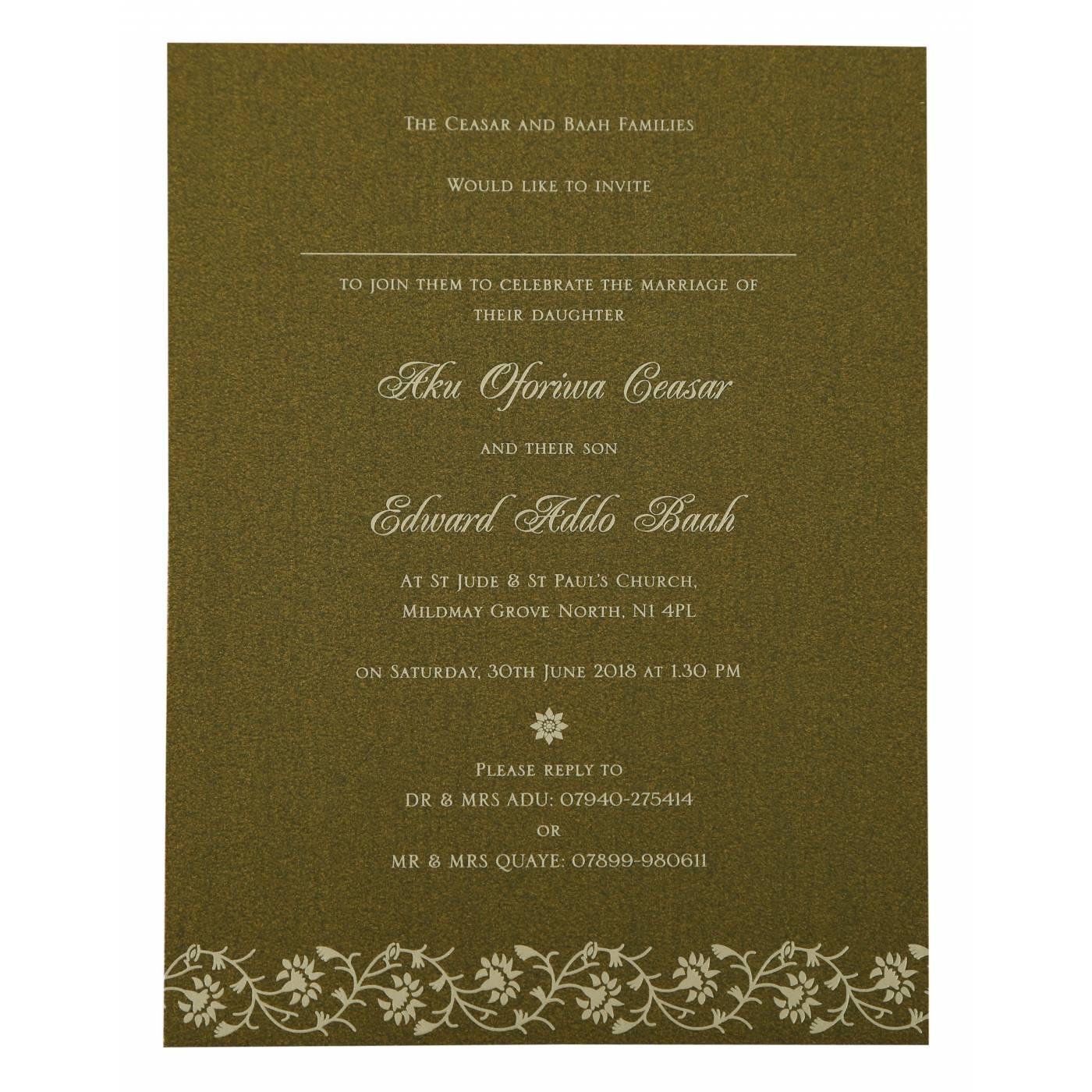 GREEN SHIMMERY FLORAL THEMED - SCREEN PRINTED WEDDING INVITATION : CIN-822A - IndianWeddingCards