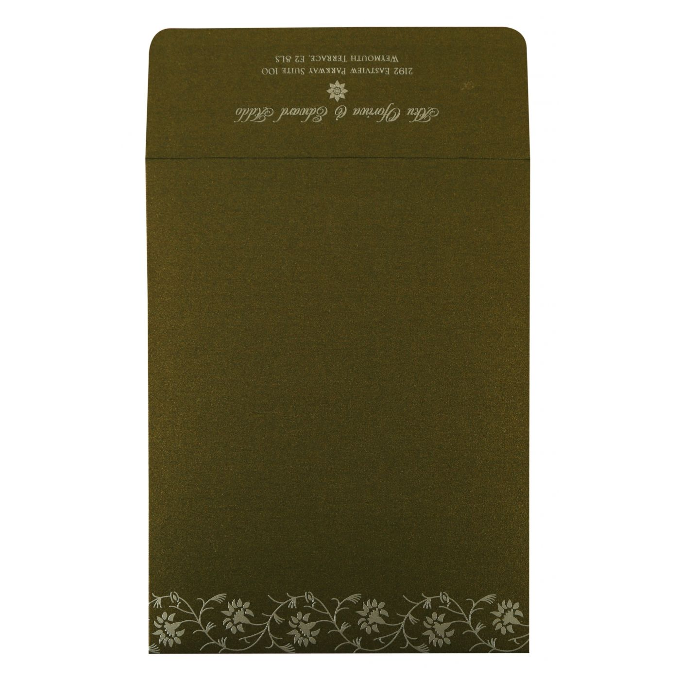 GREEN SHIMMERY FLORAL THEMED - SCREEN PRINTED WEDDING INVITATION : CS-822A - IndianWeddingCards