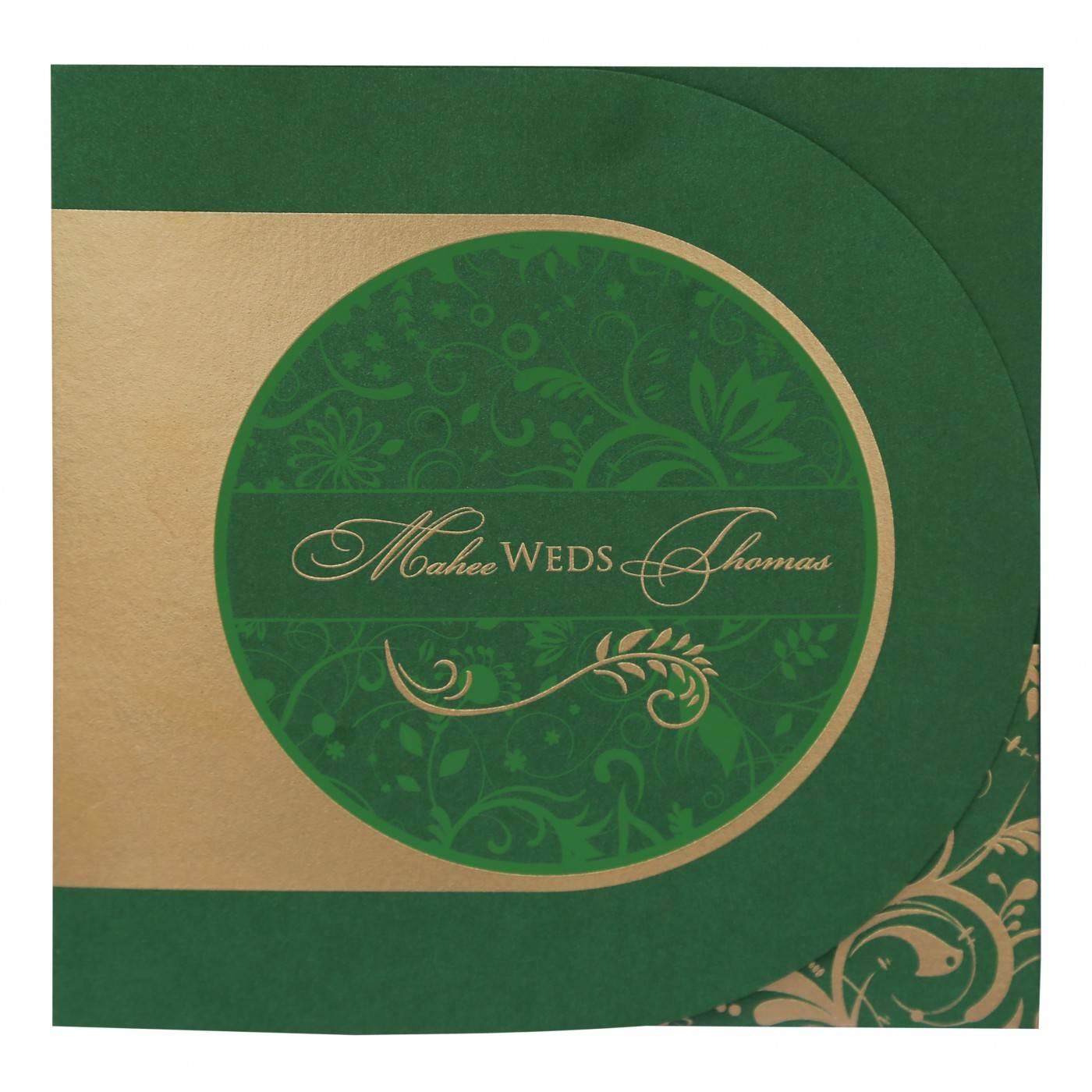 DARK GREEN SHIMMERY PAISLEY THEMED - SCREEN PRINTED WEDDING CARD : CD-8264J - IndianWeddingCards