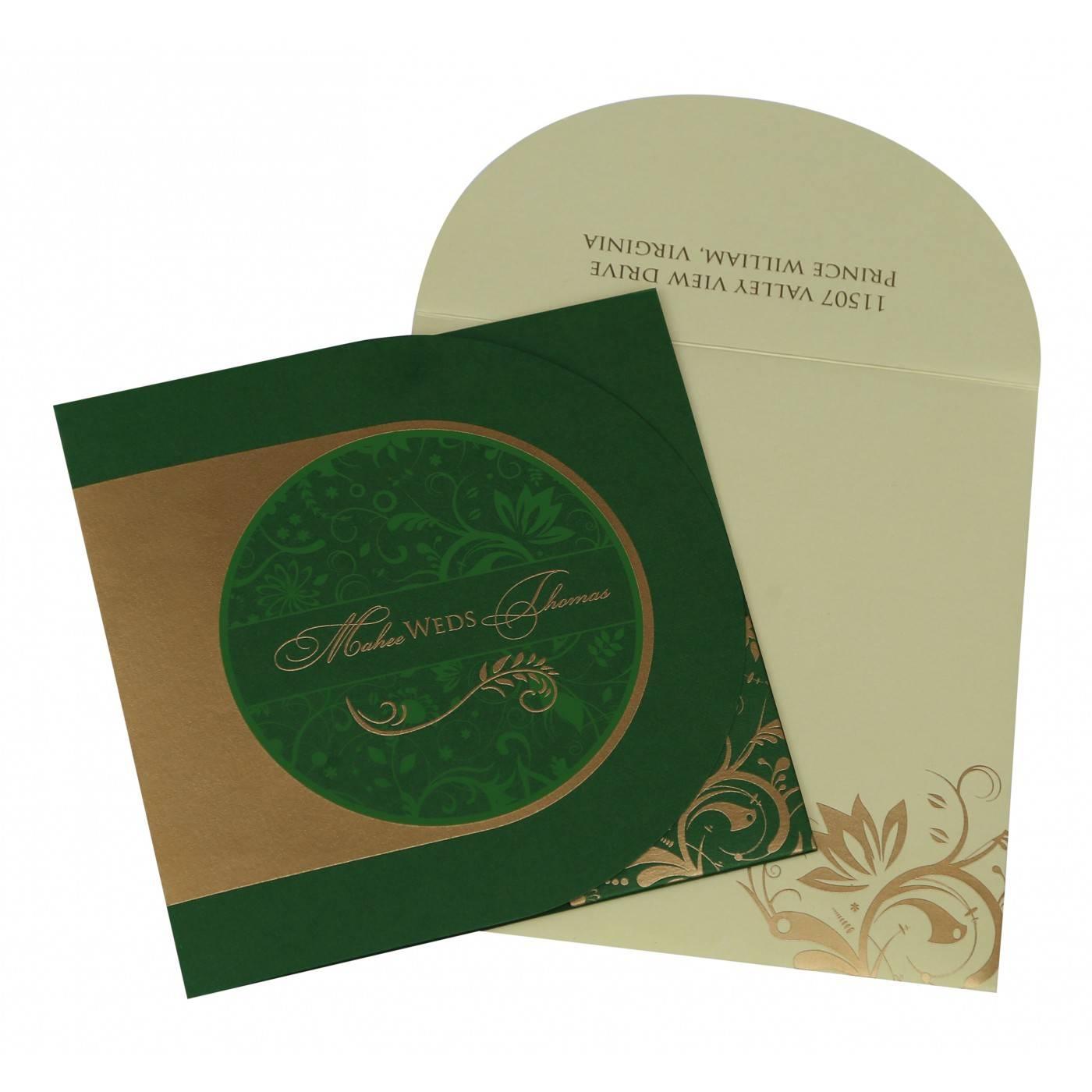 DARK GREEN SHIMMERY PAISLEY THEMED - SCREEN PRINTED WEDDING CARD : CSO-8264J - IndianWeddingCards
