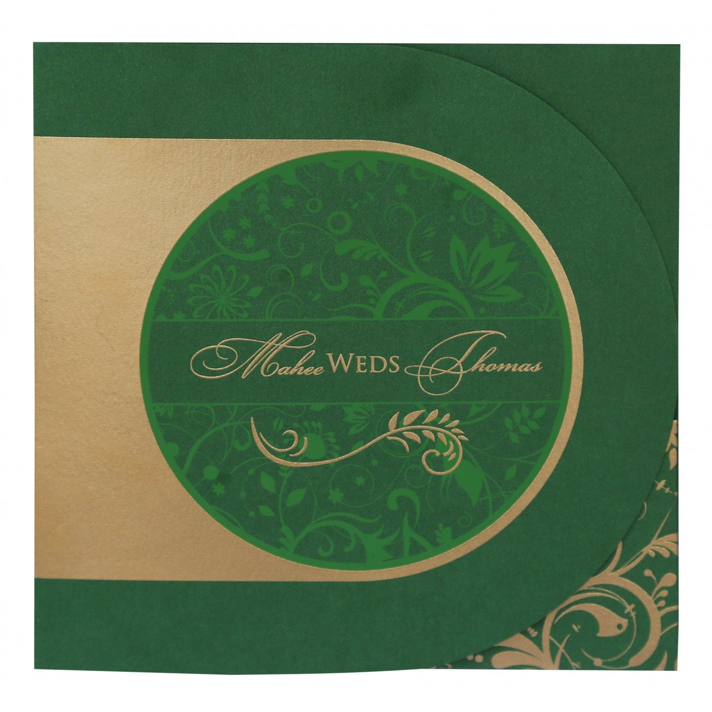 DARK GREEN SHIMMERY PAISLEY THEMED - SCREEN PRINTED WEDDING CARD : CW-8264J - IndianWeddingCards