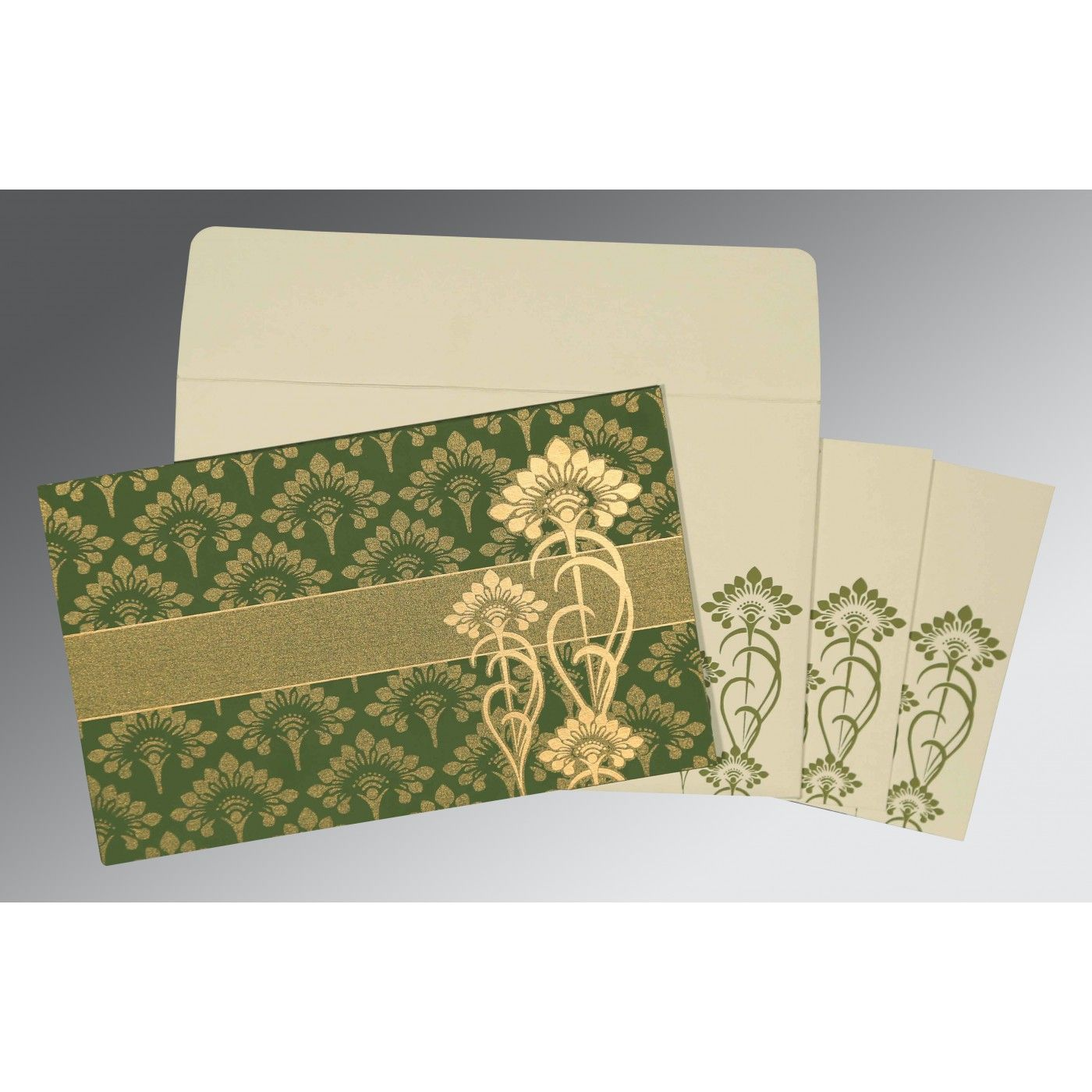 OLIVE GREEN SHIMMERY SCREEN PRINTED WEDDING CARD : CD-8239F - IndianWeddingCards