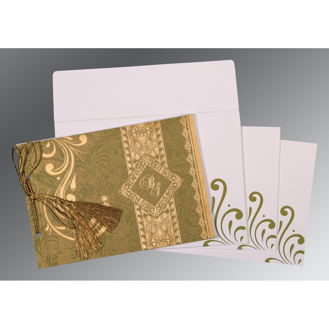 OLIVE GREEN SHIMMERY SCREEN PRINTED WEDDING CARD : CRU-8223I - IndianWeddingCards