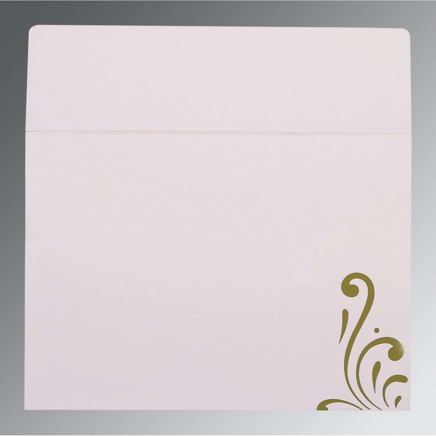 OLIVE GREEN SHIMMERY SCREEN PRINTED WEDDING CARD : CS-8223I - IndianWeddingCards