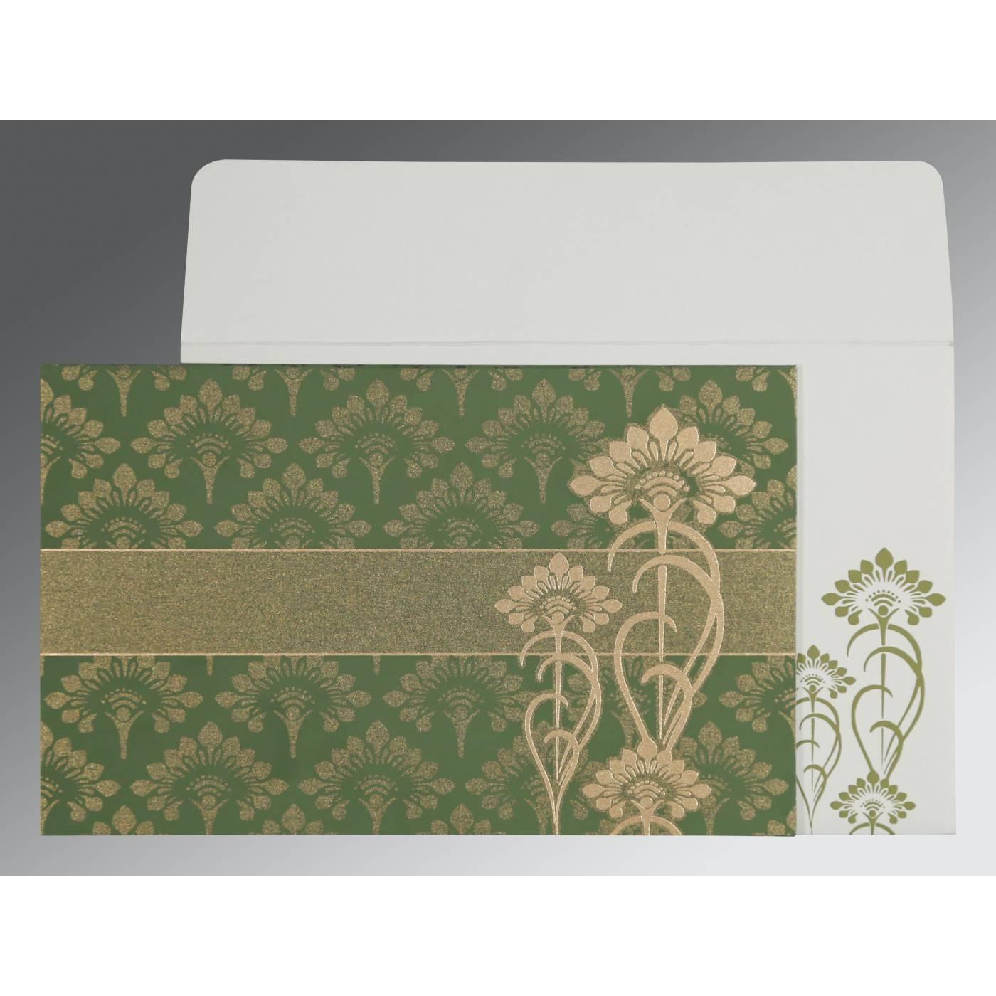 OLIVE GREEN SHIMMERY SCREEN PRINTED WEDDING CARD : CS-8239F - IndianWeddingCards