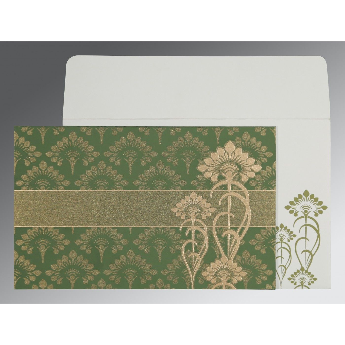OLIVE GREEN SHIMMERY SCREEN PRINTED WEDDING CARD : CSO-8239F - IndianWeddingCards