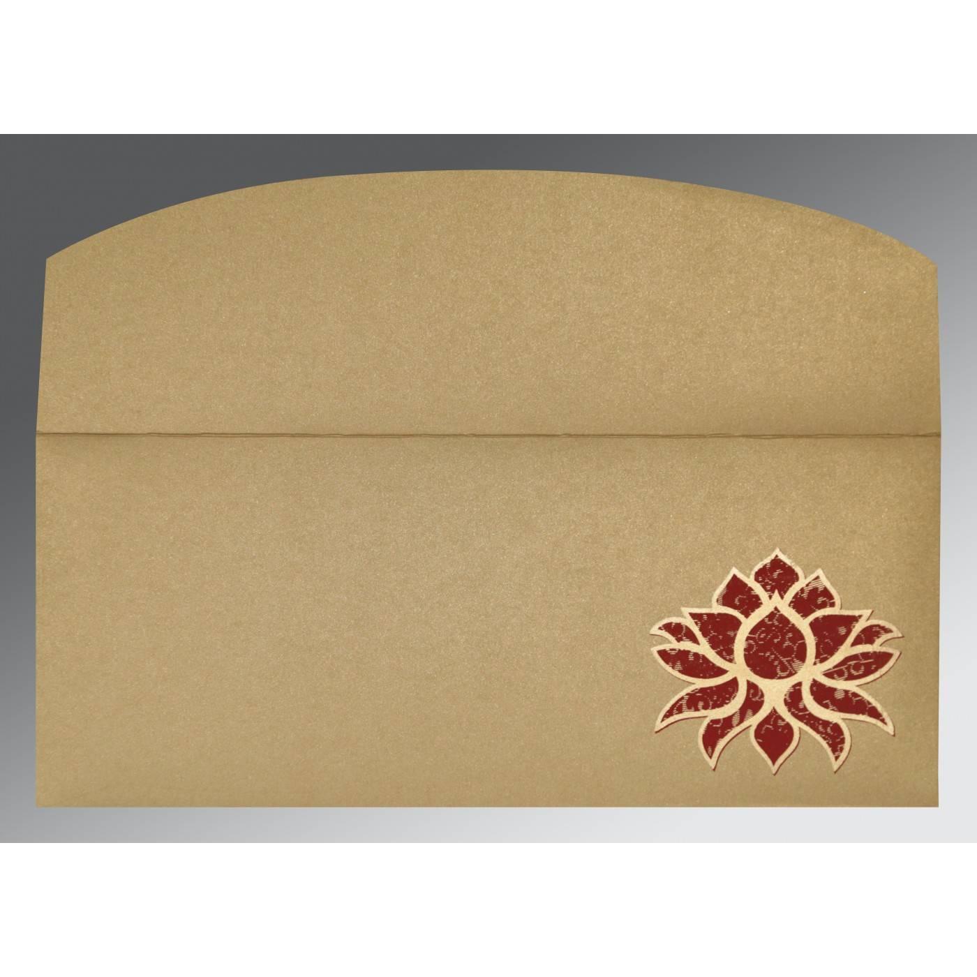 OLIVE GREEN SHIMMERY SCREEN PRINTED WEDDING INVITATION : CW-1449 - IndianWeddingCards