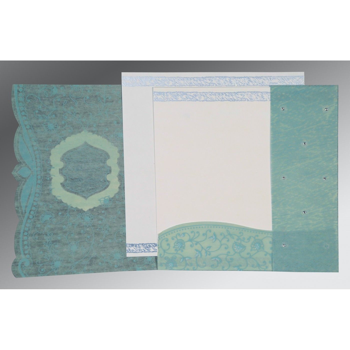 SEA GREEN SHIMMERY FLORAL THEMED - EMBOSSED WEDDING CARD : CIN-8209F - IndianWeddingCards