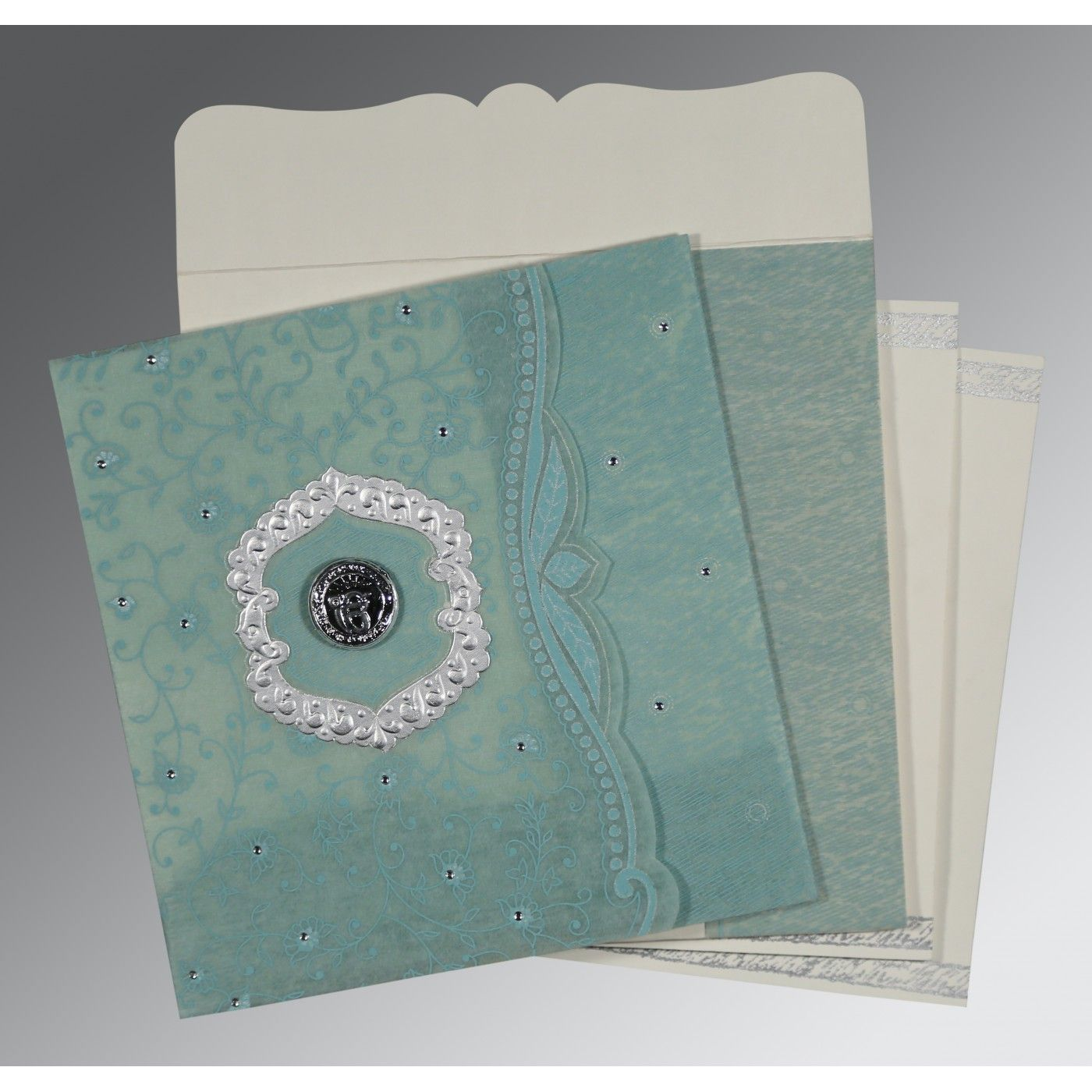 SEA GREEN SHIMMERY FLORAL THEMED - EMBOSSED WEDDING CARD : CS-8209F - IndianWeddingCards