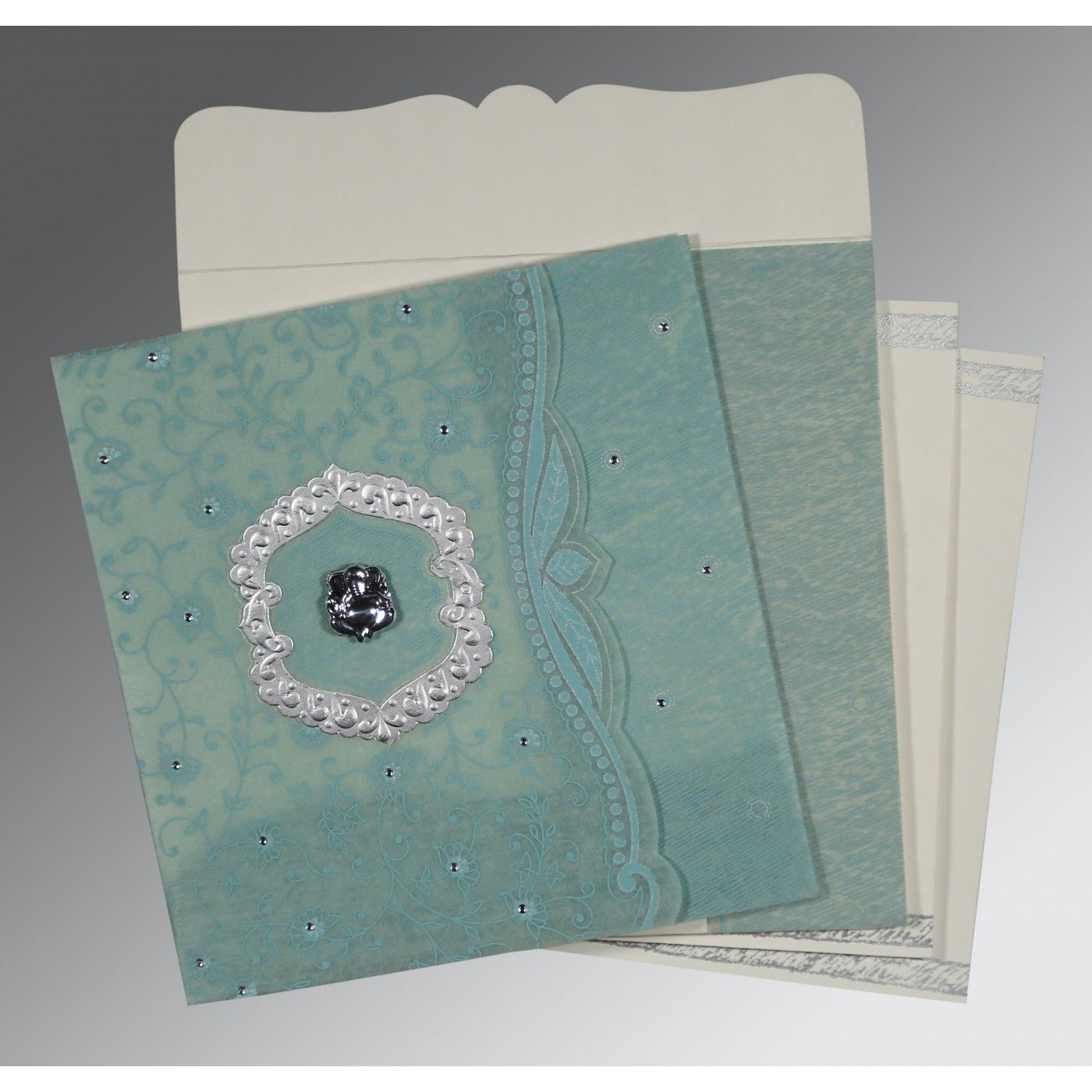SEA GREEN SHIMMERY FLORAL THEMED - EMBOSSED WEDDING CARD : CW-8209F - IndianWeddingCards