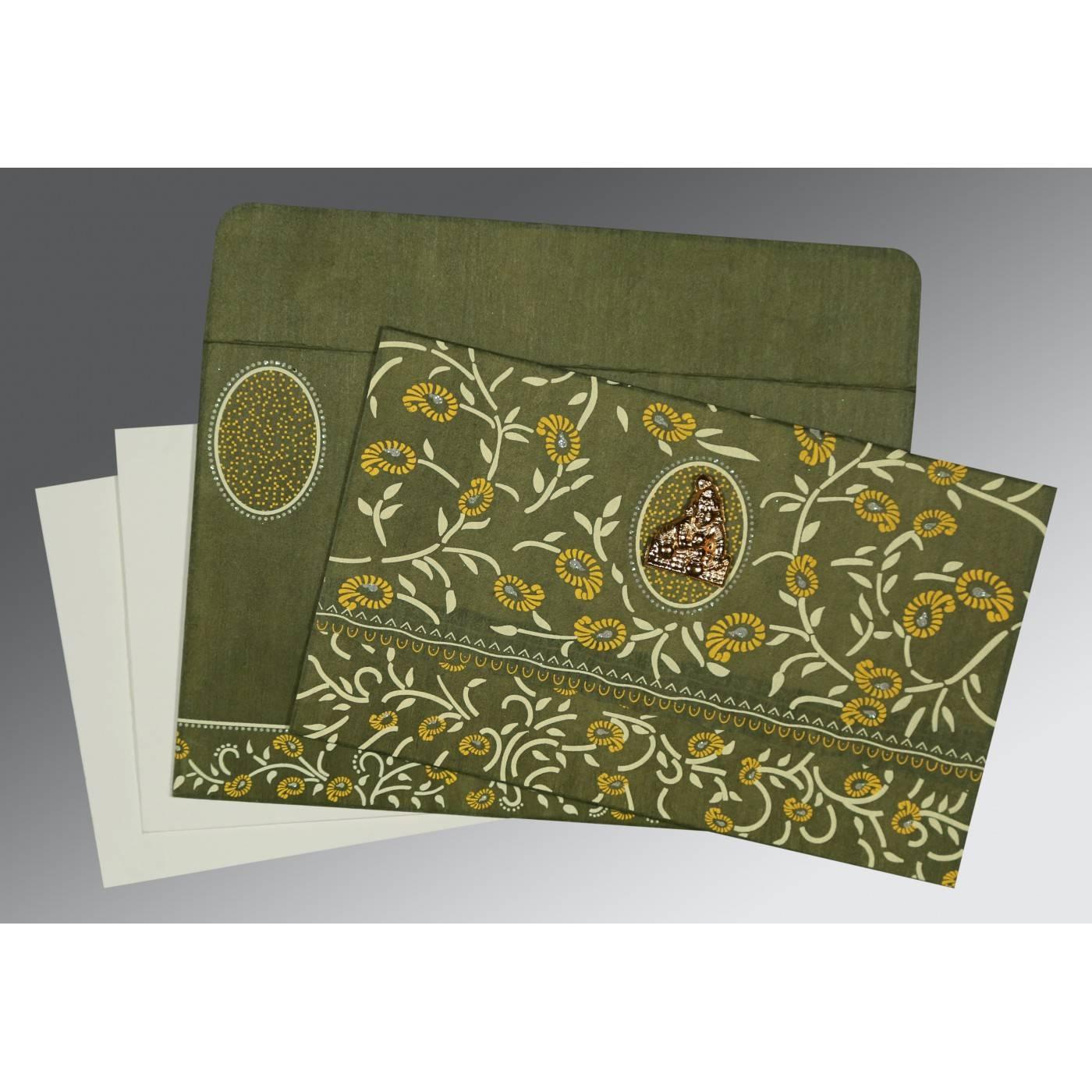 DEEP SAGE WOOLY FLORAL THEMED - GLITTER WEDDING CARD : CG-8206D - IndianWeddingCards