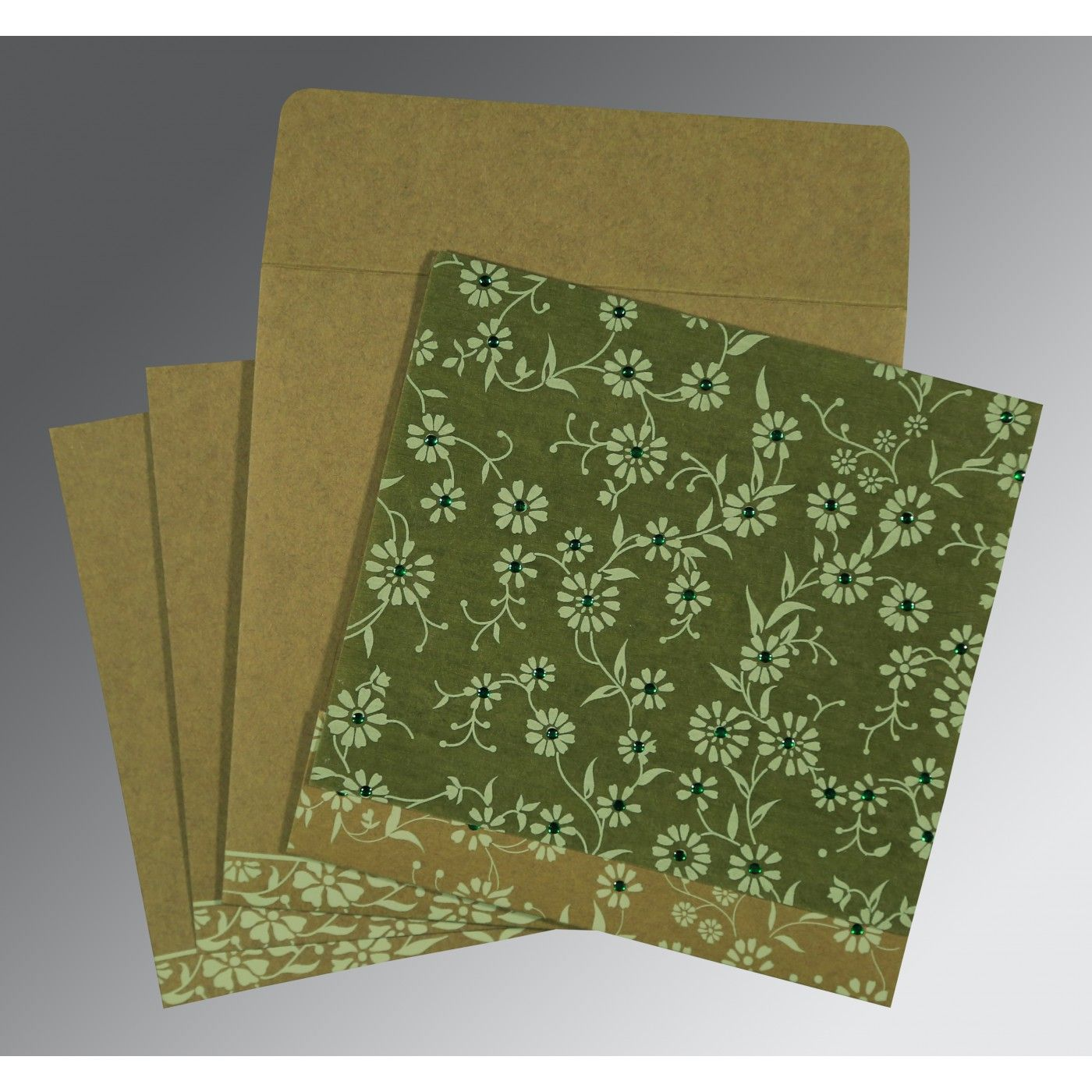 FERN GREEN MATTE FLORAL THEMED - SCREEN PRINTED WEDDING CARD : CD-8222D - IndianWeddingCards