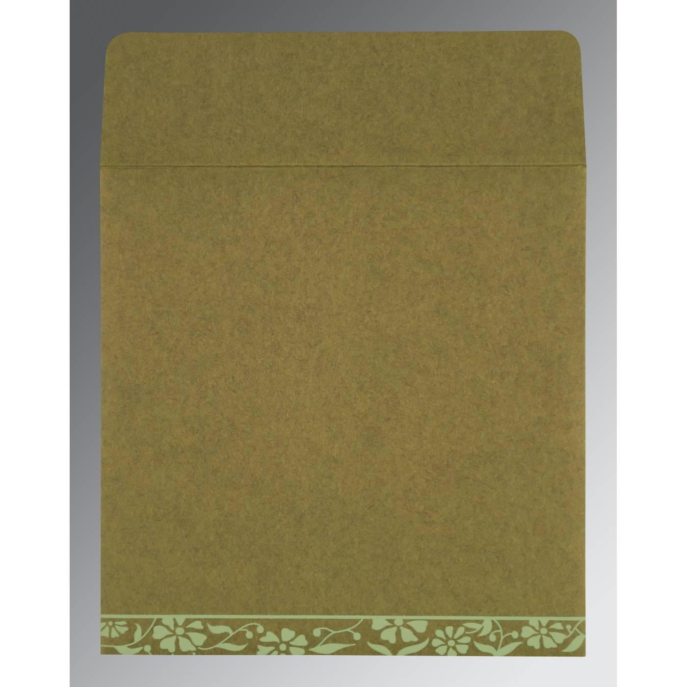 FERN GREEN MATTE FLORAL THEMED - SCREEN PRINTED WEDDING CARD : CI-8222D - IndianWeddingCards