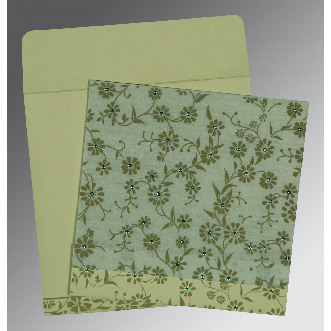 SAGE GREEN MATTE FLORAL THEMED - SCREEN PRINTED WEDDING CARD : CI-8222G - IndianWeddingCards
