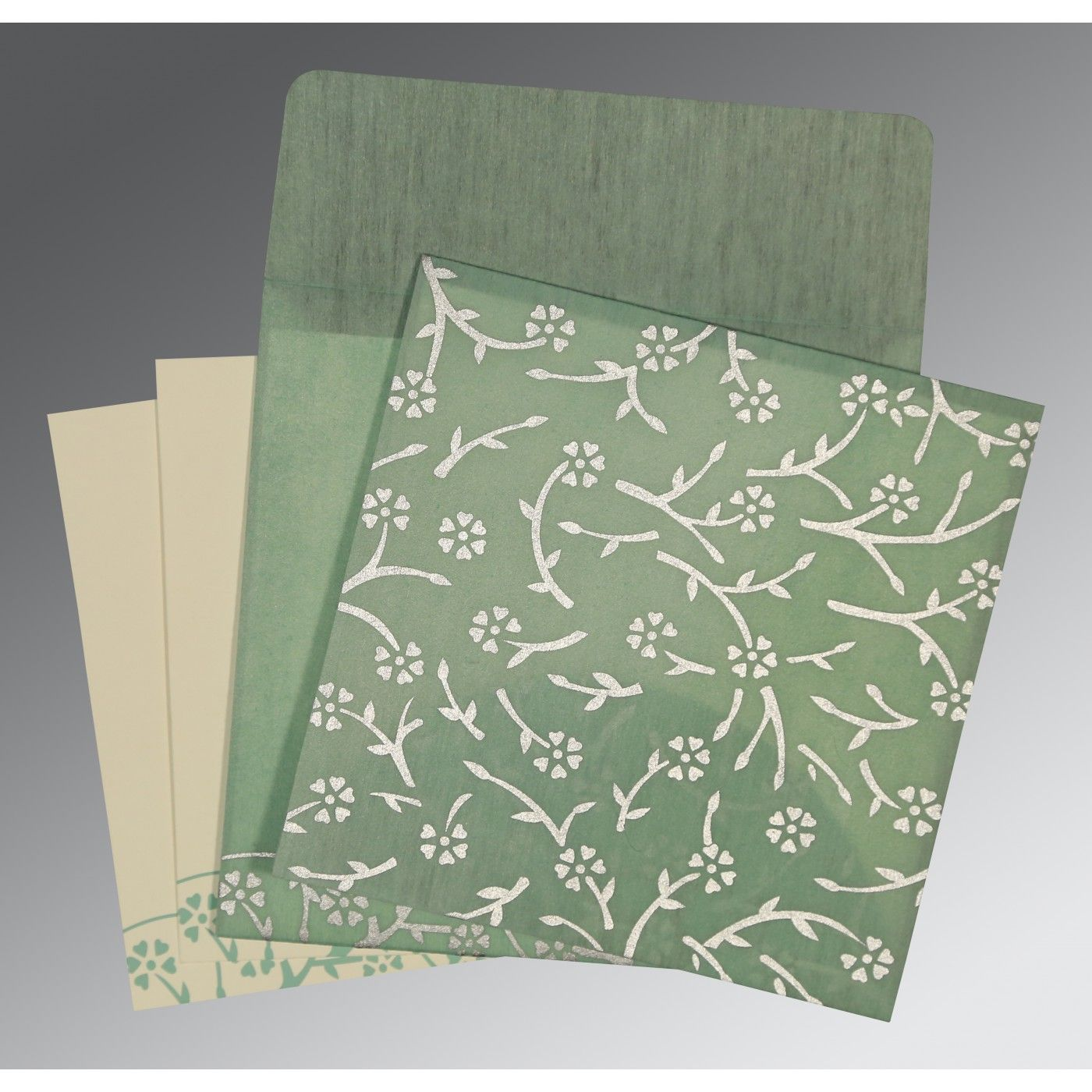 SAGE GREEN WOOLY FLORAL THEMED - SCREEN PRINTED WEDDING INVITATION : CRU-8216F - IndianWeddingCards