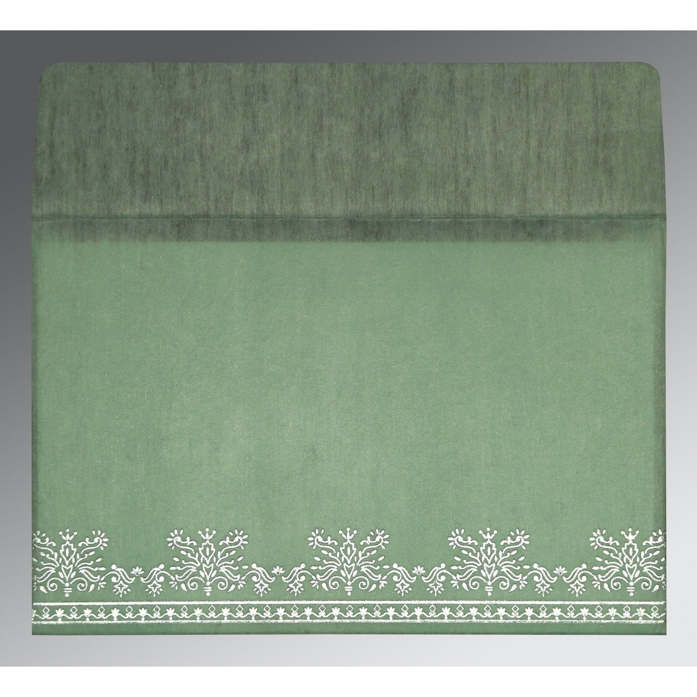 SAGE GREEN WOOLY FOIL STAMPED WEDDING INVITATION : CI-8241C - IndianWeddingCards