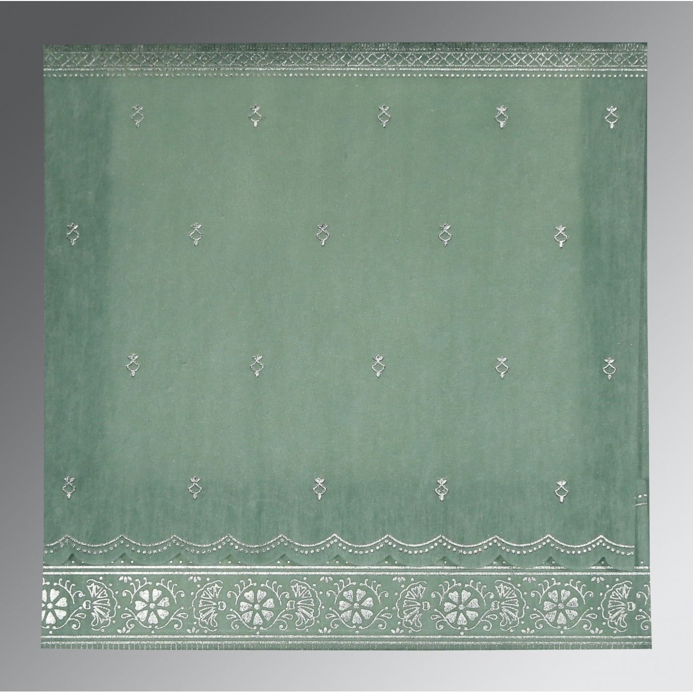 SAGE GREEN WOOLY FOIL STAMPED WEDDING CARD : CI-8242K - IndianWeddingCards