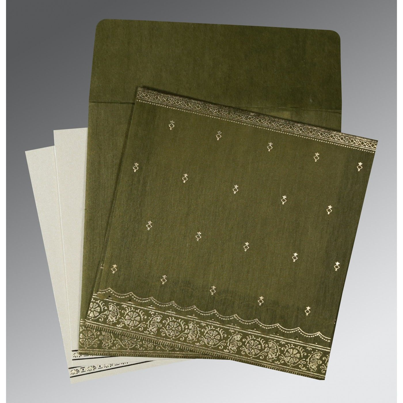 DARK OLIVE GREEN WOOLY FOIL STAMPED WEDDING CARD : CI-8242O - IndianWeddingCards