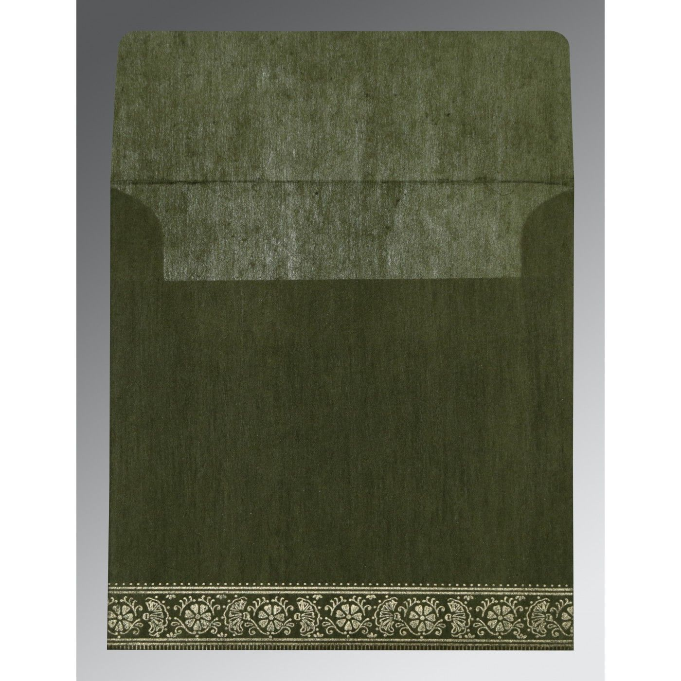 DARK OLIVE GREEN WOOLY FOIL STAMPED WEDDING CARD : CS-8242O - IndianWeddingCards