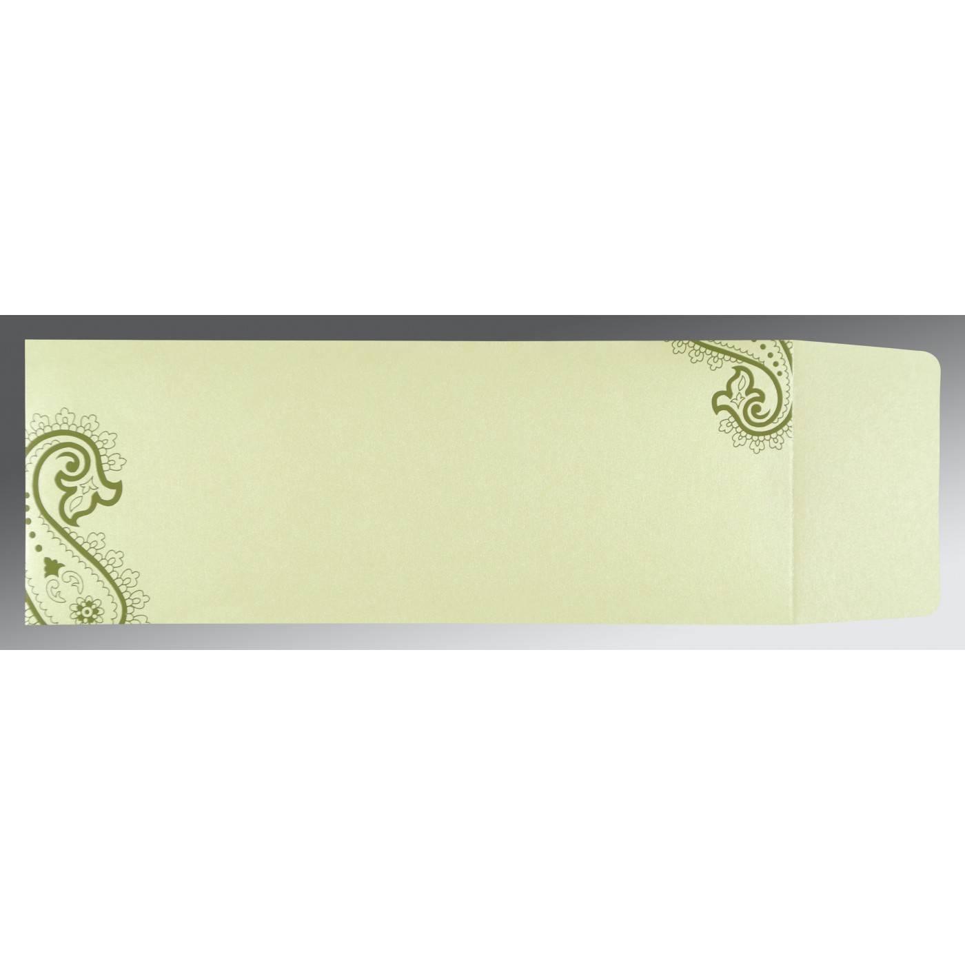 DEEP SAGE WOOLY FOIL STAMPED WEDDING CARD : CSC-5015I - IndianWeddingCards