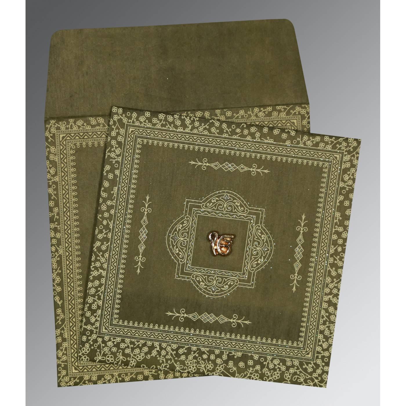 DEEP SAGE WOOLY GLITTER WEDDING CARD : CS-8205G - IndianWeddingCards
