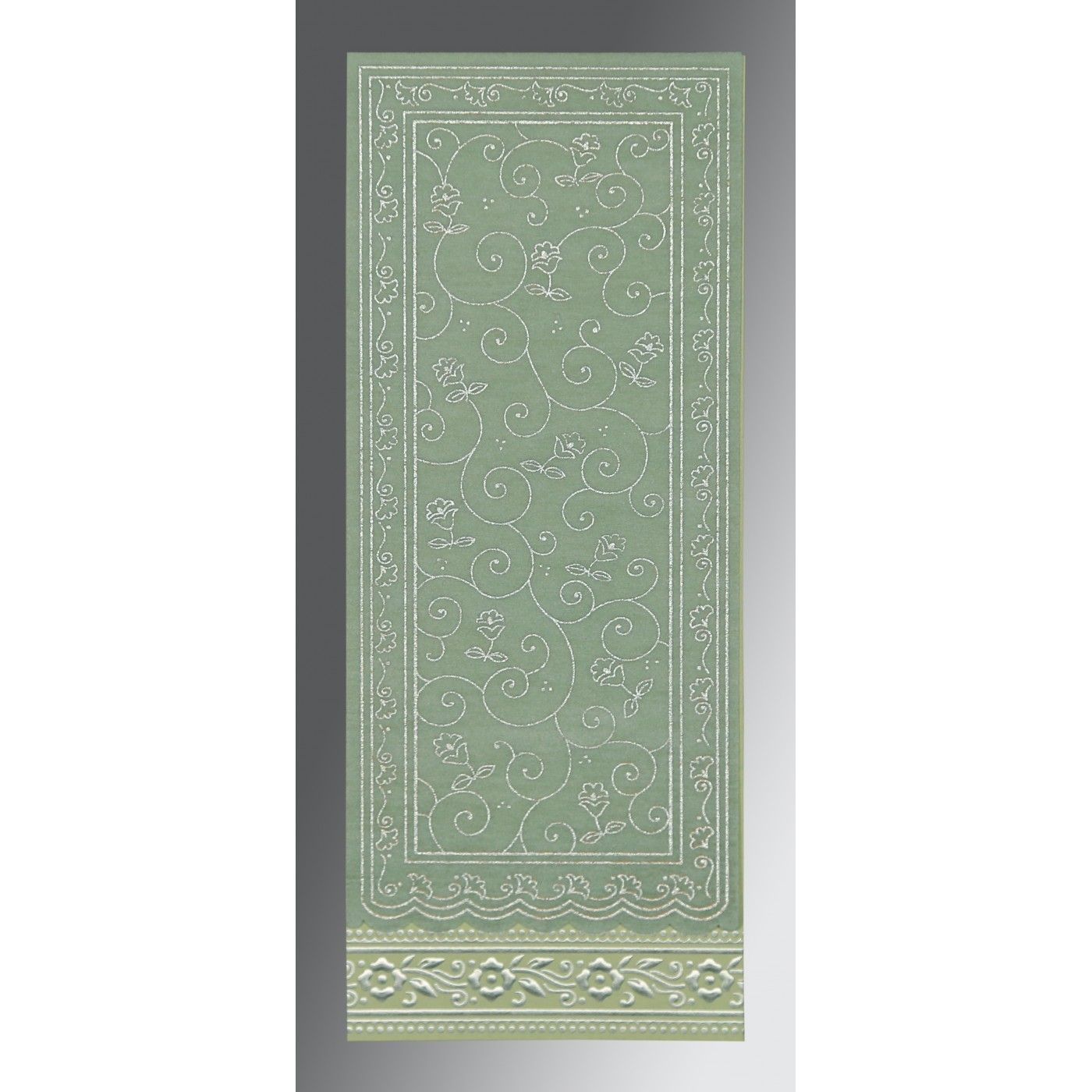 SAGE GREEN WOOLY SCREEN PRINTED WEDDING INVITATION : CS-8220G - IndianWeddingCards