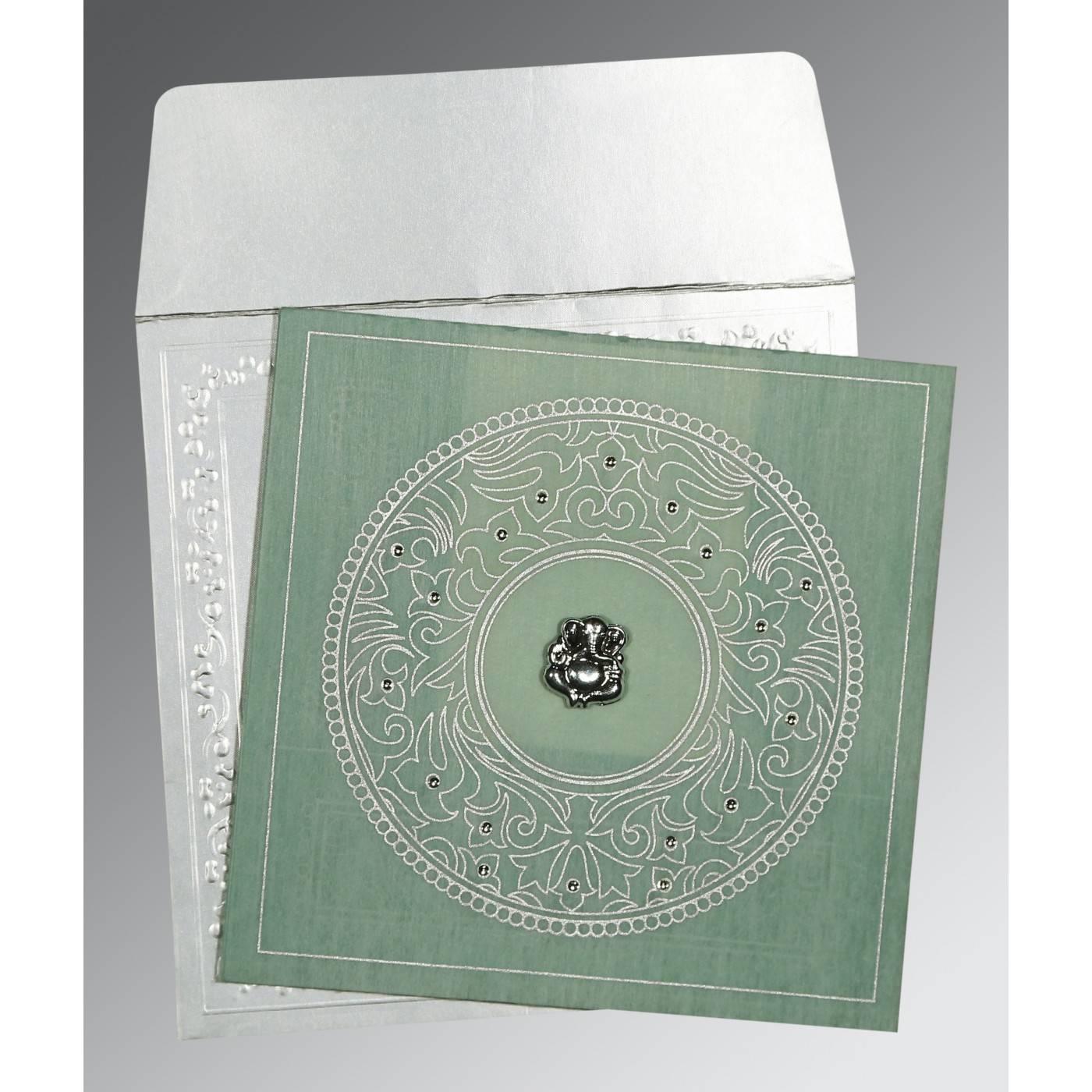 SAGE GREEN WOOLY SCREEN PRINTED WEDDING CARD : CW-8214P - IndianWeddingCards