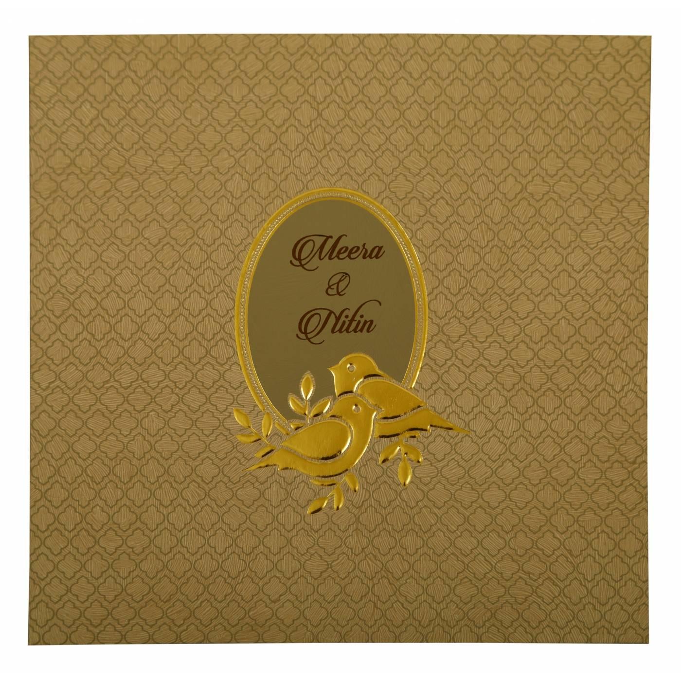 GREY MATTE FOIL STAMPED WEDDING INVITATION : CD-1885 - IndianWeddingCards
